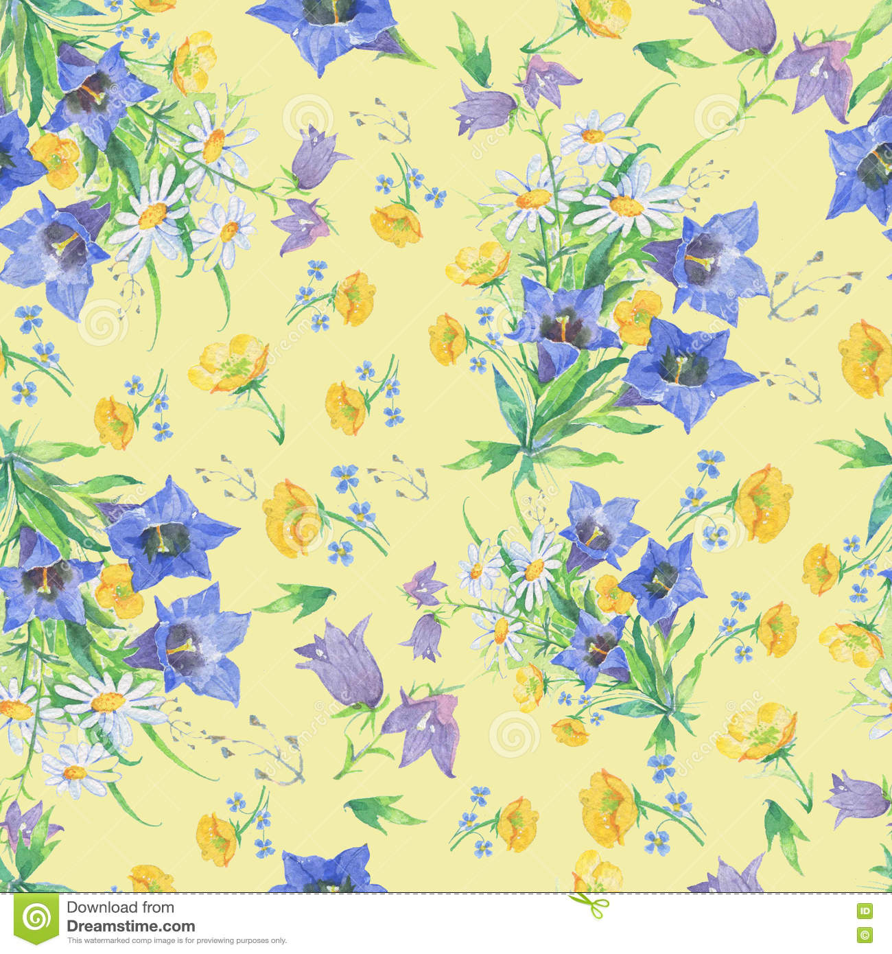 Seamless pattern of flowers on a yellow background
