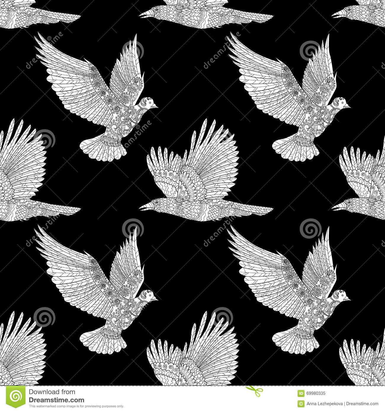 Seamless Pattern With Flying Raven And Dove High Details Adult Anti Stress Coloring Page Birds Black White Hand Drawn Doodle Bird
