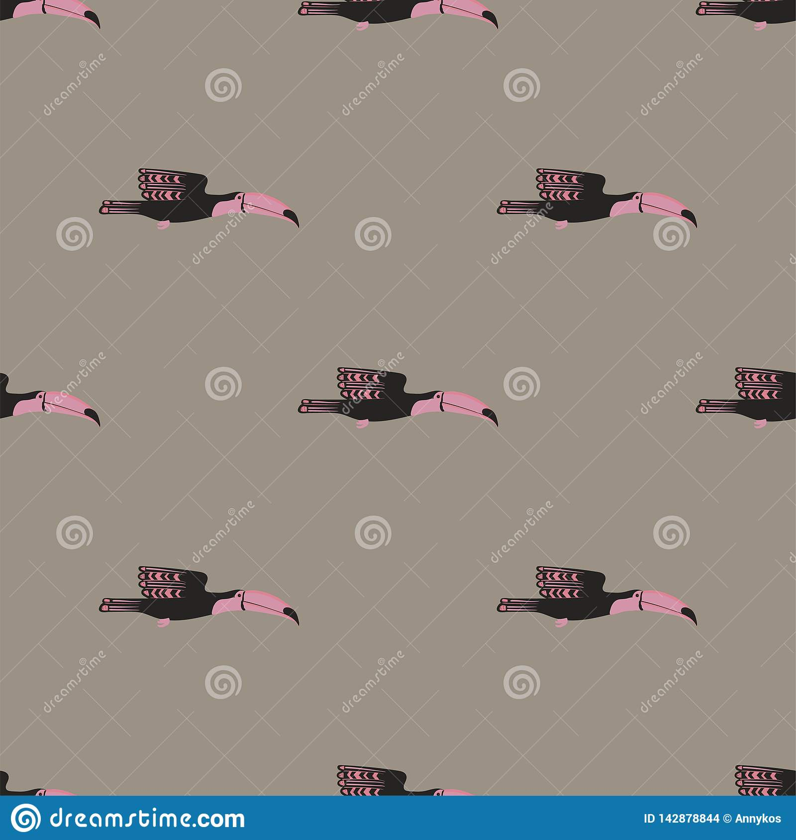 Seamless Pattern With Flying Toucan