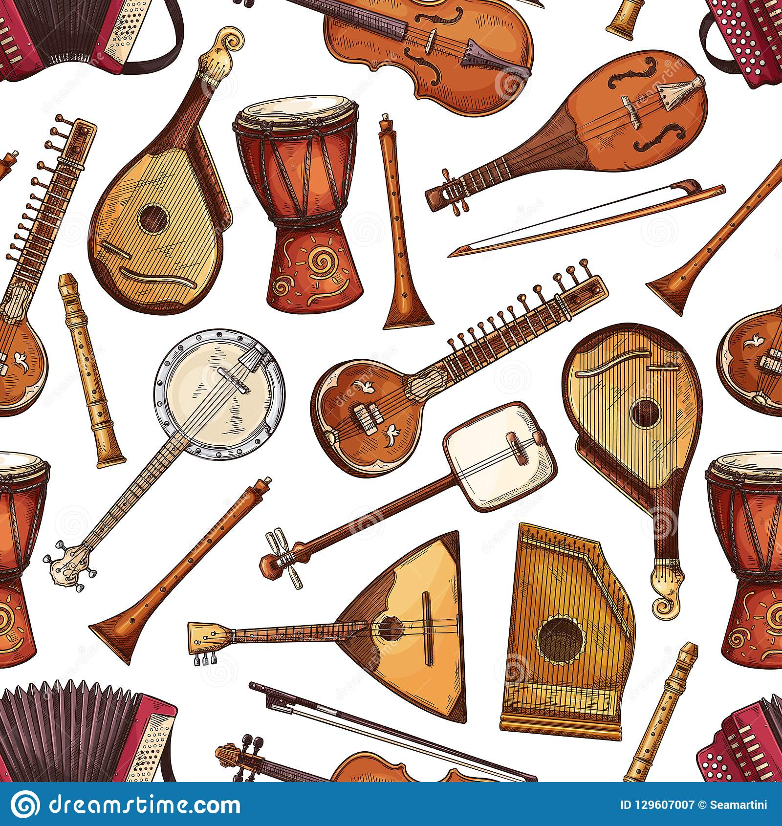 Folk Musical Instruments Seamless Pattern Stock Vector