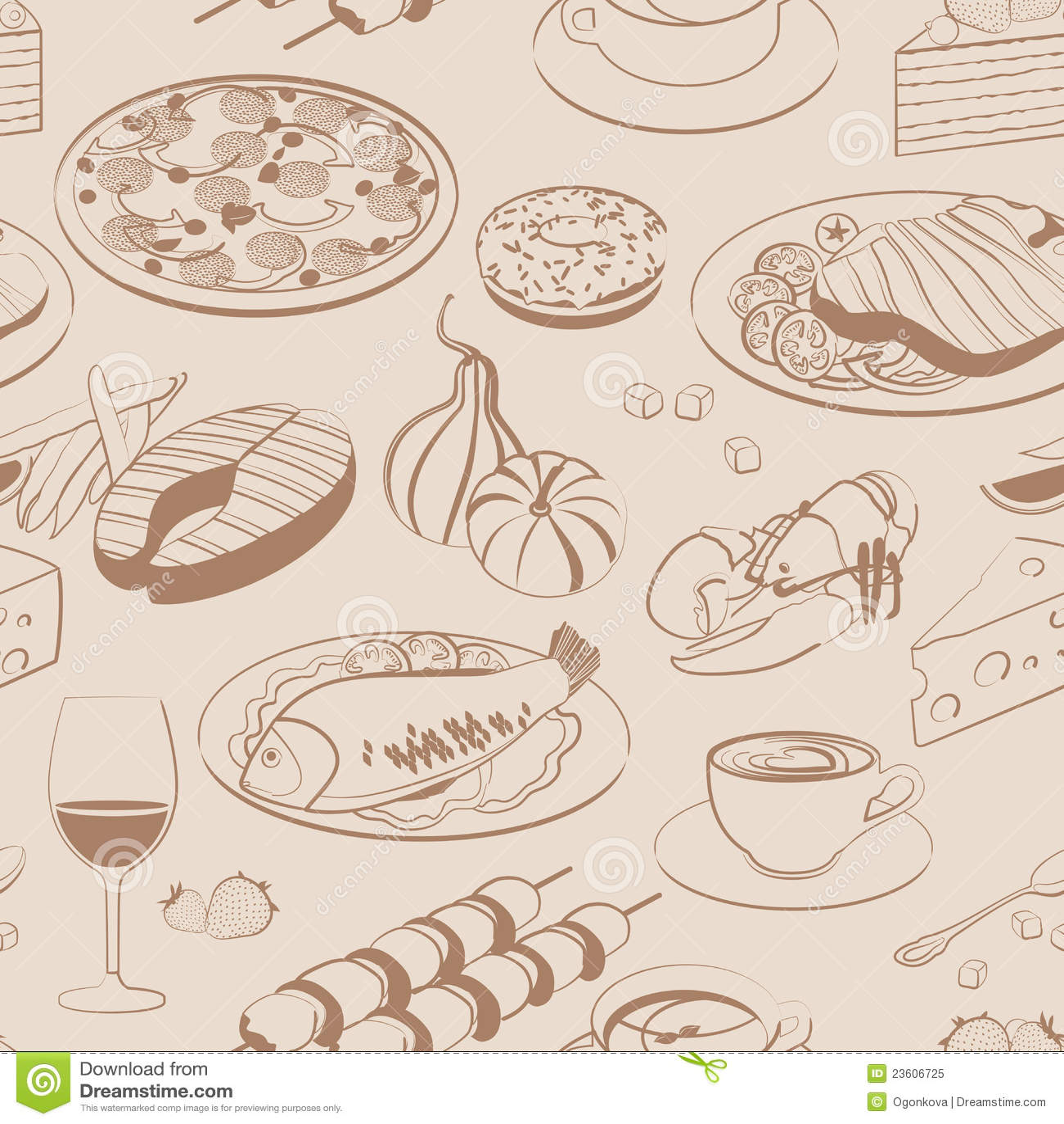 Seamless pattern of food