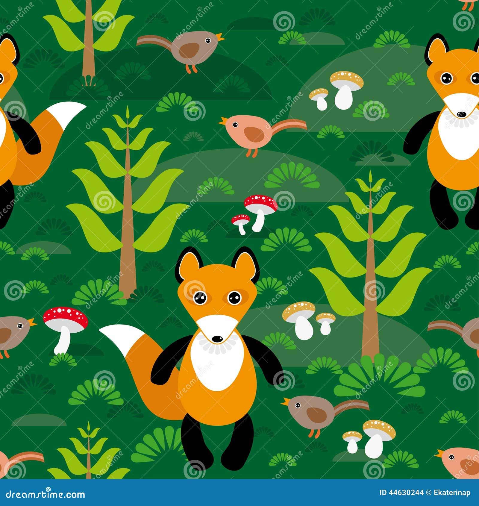 Seamless Pattern Fox And Forest Tree Mushrooms Kids