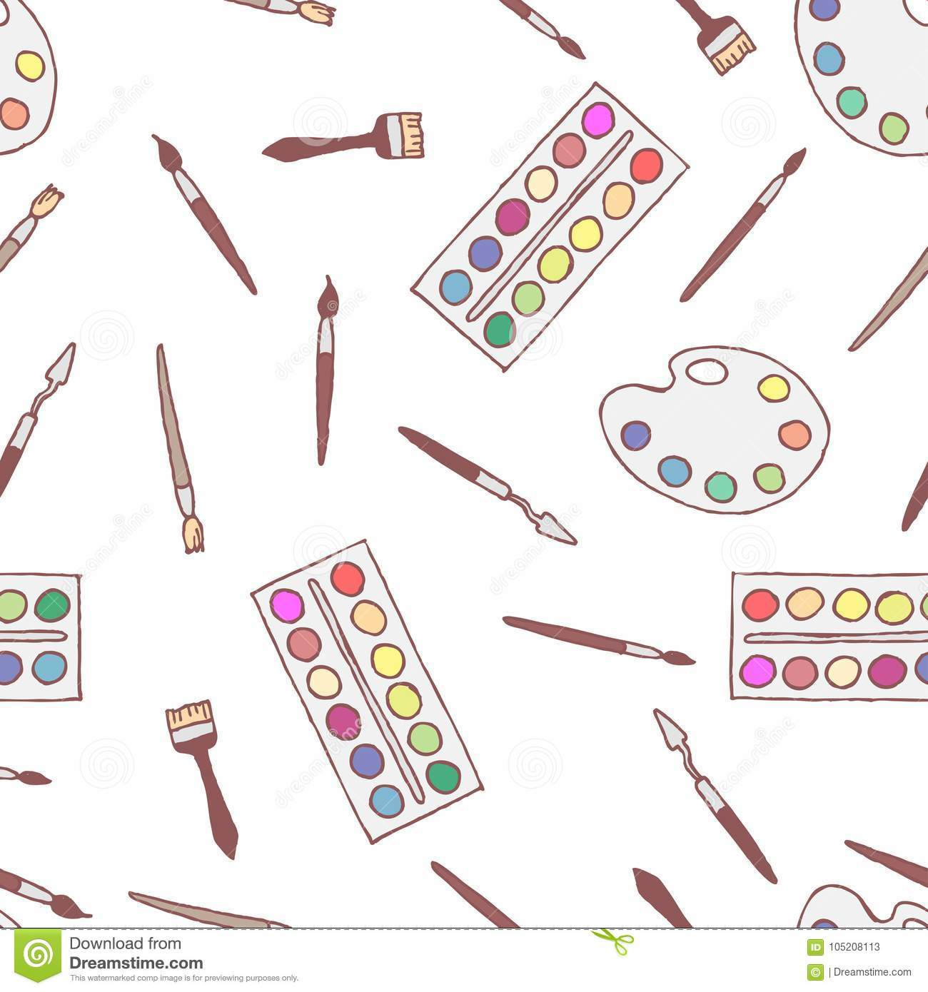 Seamless Pattern Freehand Drawing Of Palettes Paints Stock