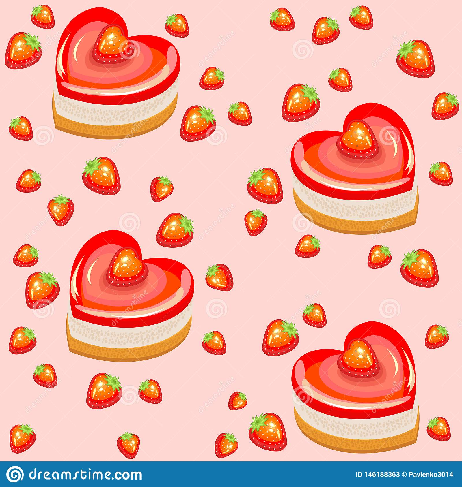 Terrific Seamless Pattern Fresh Holiday Cakes In The Shape Of Heart And Funny Birthday Cards Online Alyptdamsfinfo