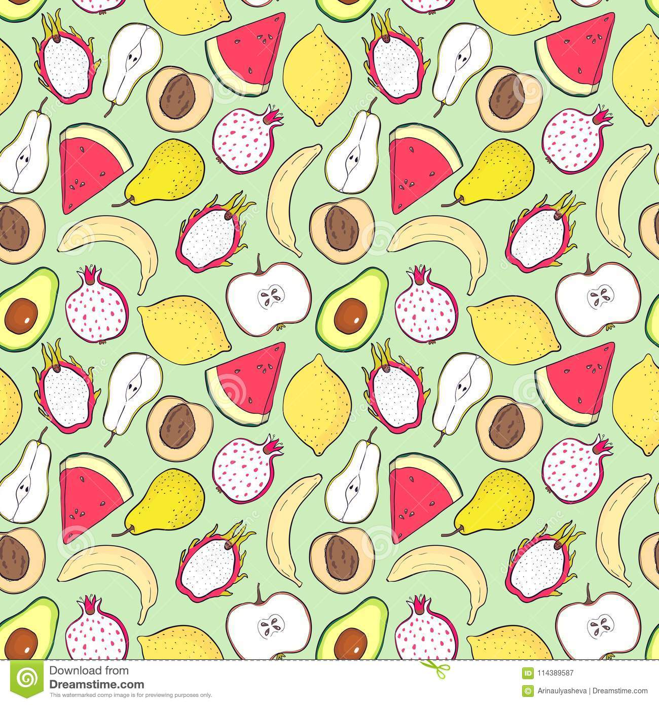 Seamless Pattern With Fruits For Kitchen For Printing On