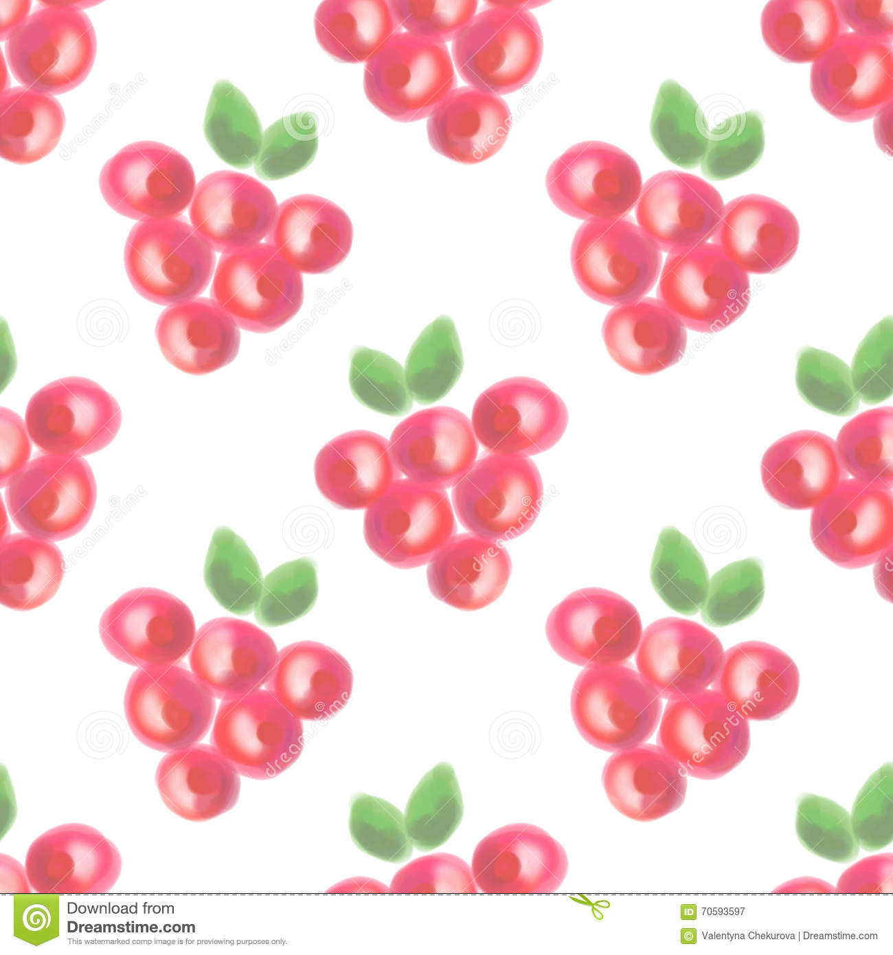 Seamless pattern with fruits. Watercolor background with hand drawn berries.