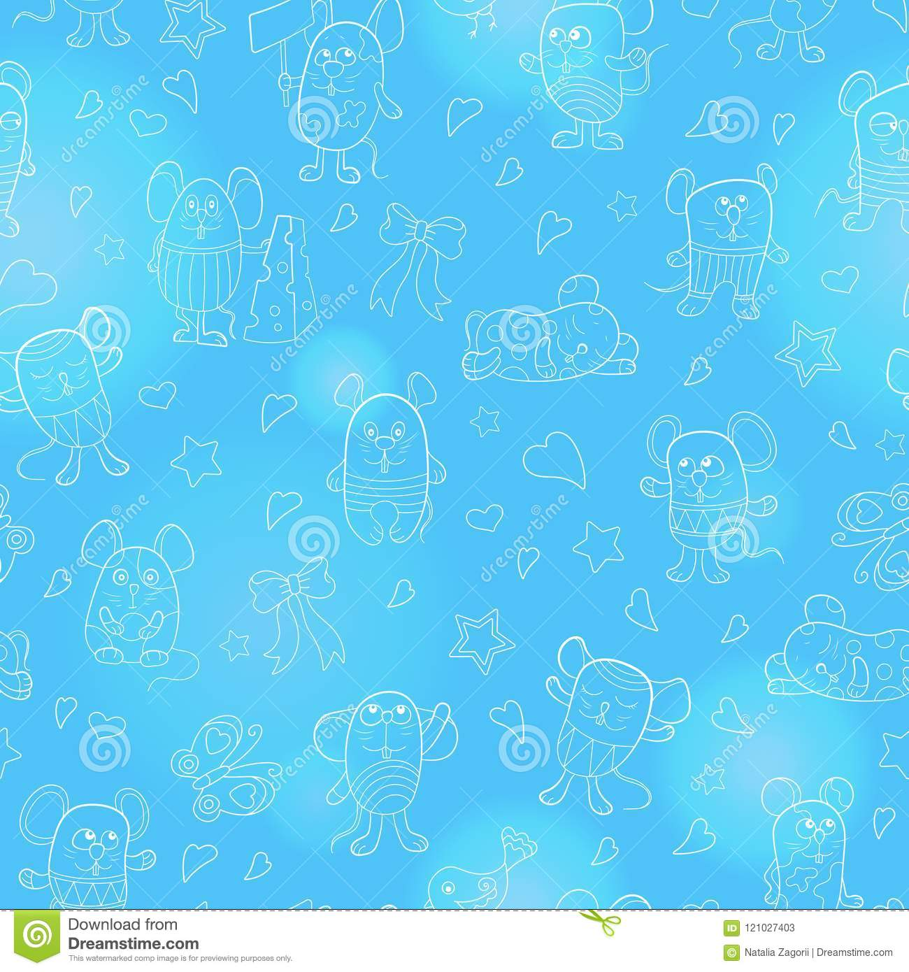 Seamless illustration with funny cartoon contour mouses ,the white outline on a blue background