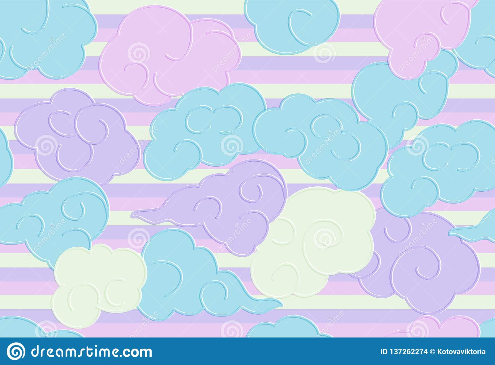 Seamless pattern with funny doodle clouds for prints, designs and coloring books. Nursery Background for Kidn