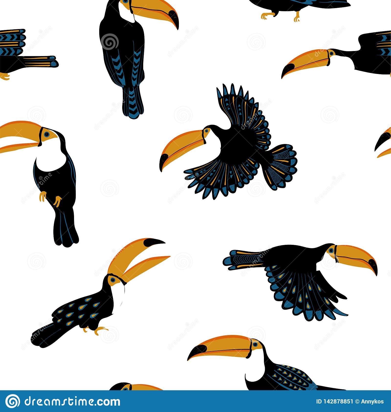 Seamless Pattern With Funny Toucan Birds