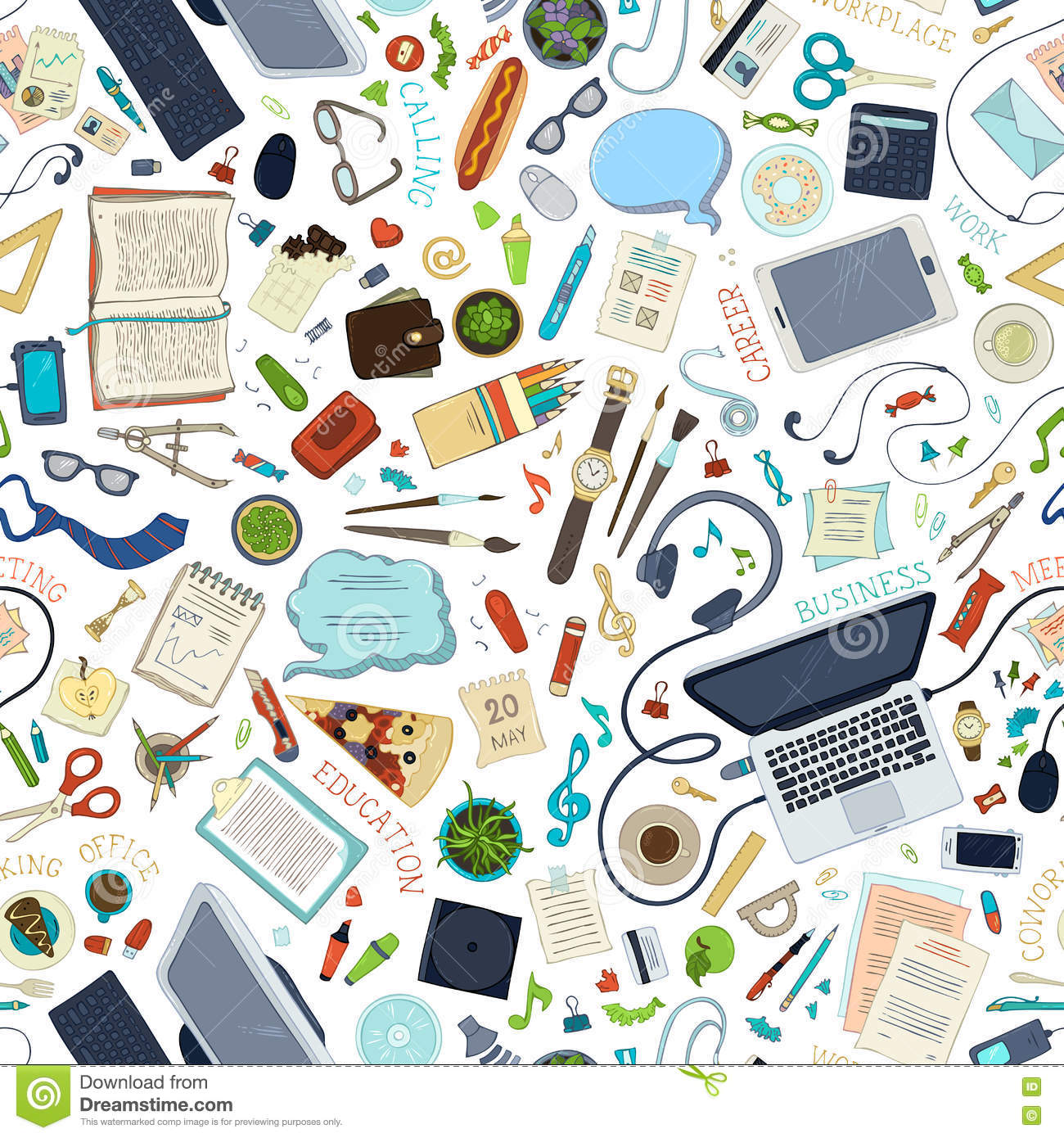 seamless pattern of gadgets and office supplies  stock