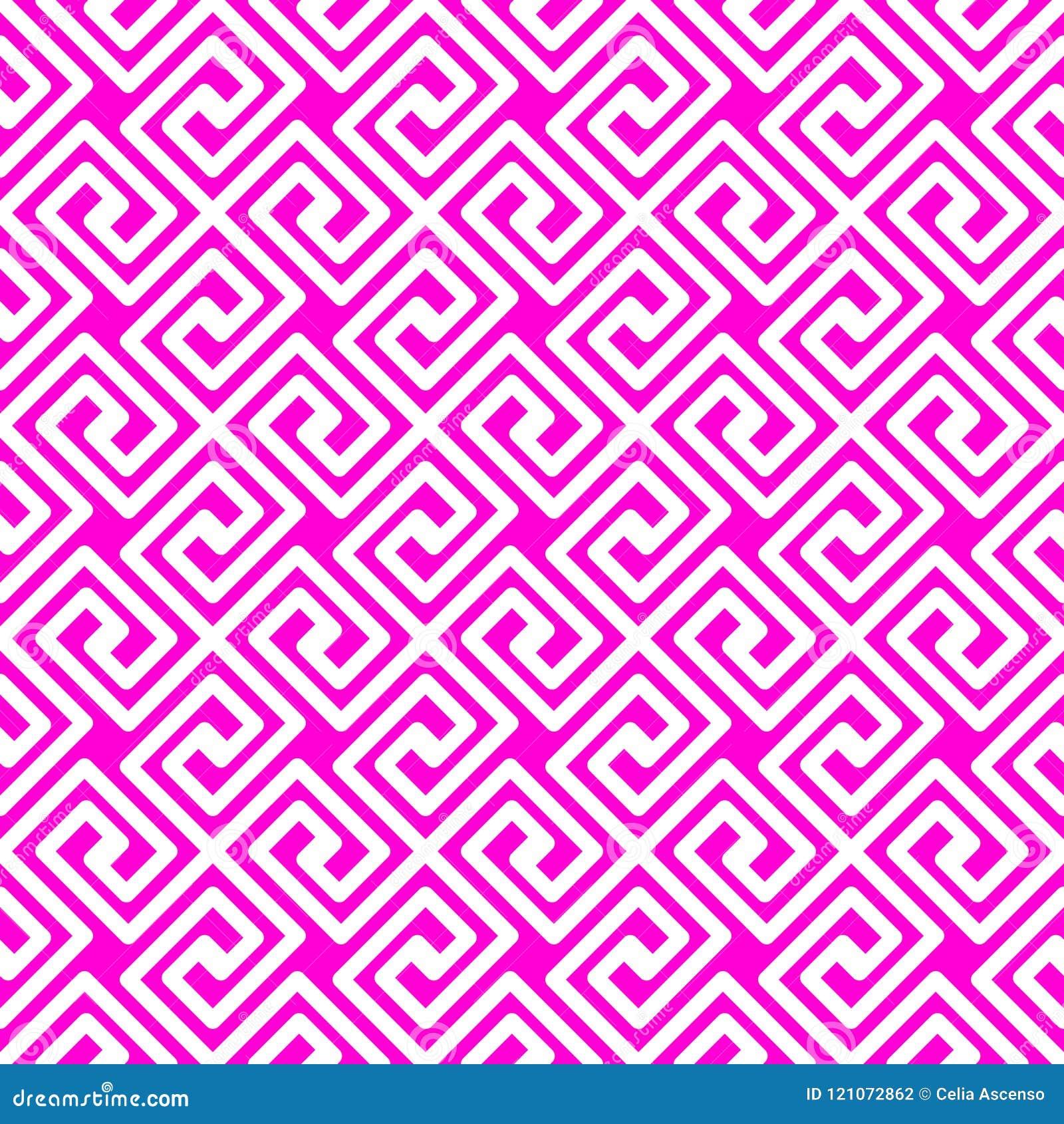 Pink geometric Greek lines seamless pattern