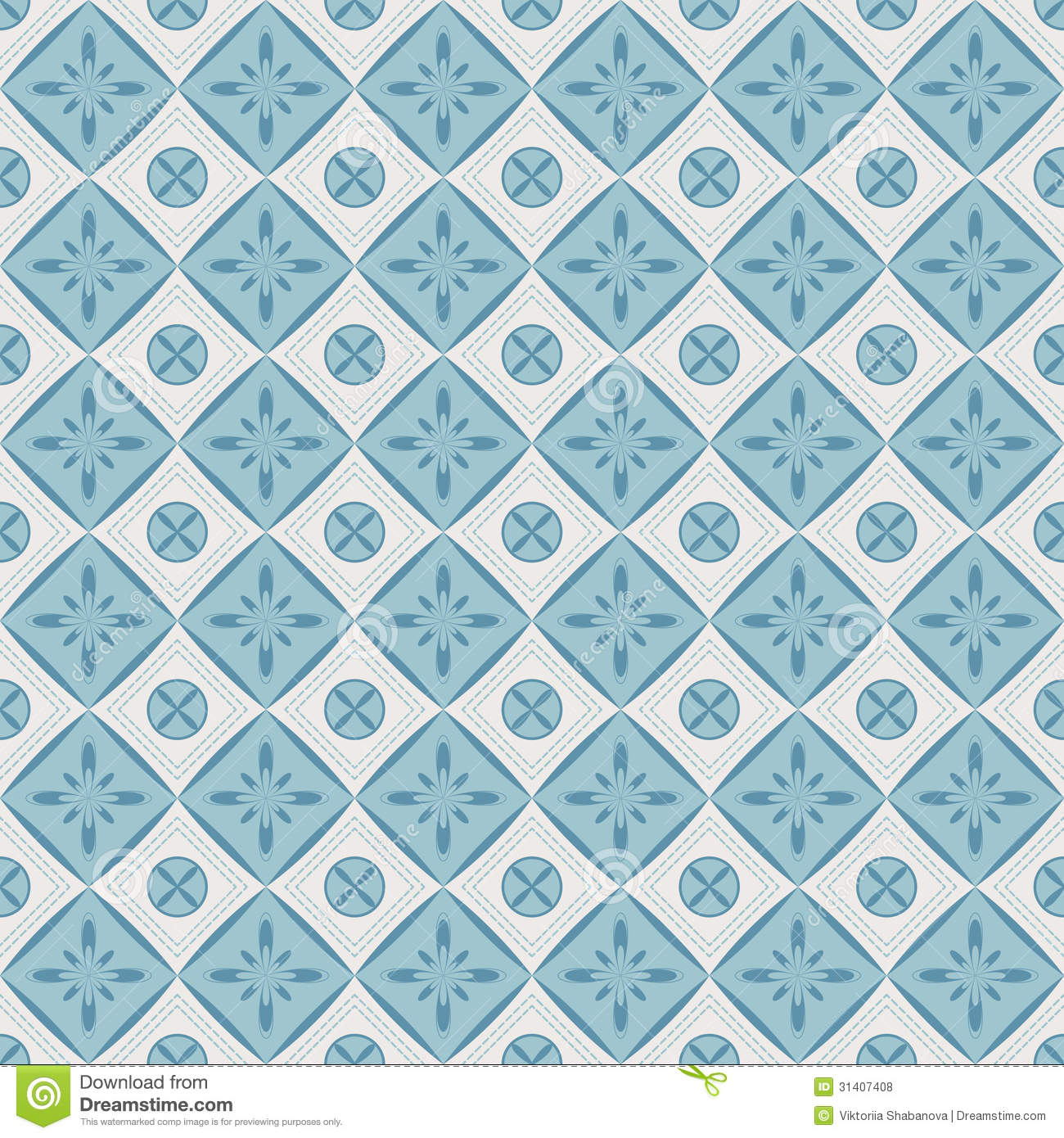 Seamless Pattern With Geometric Diamond Shapes And Flowers ... - photo#33