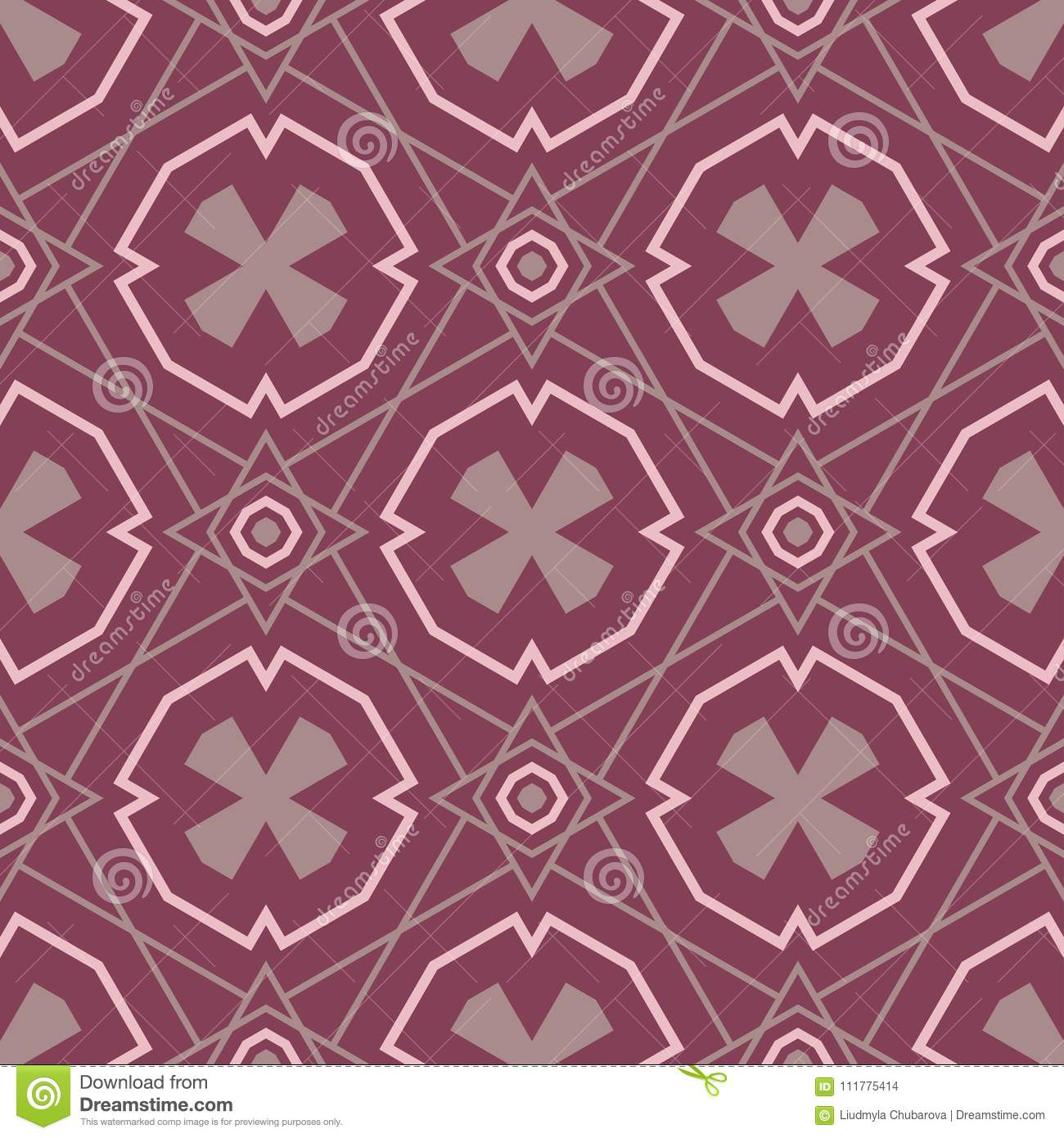 Seamless pattern with geometric elements. Dark red background