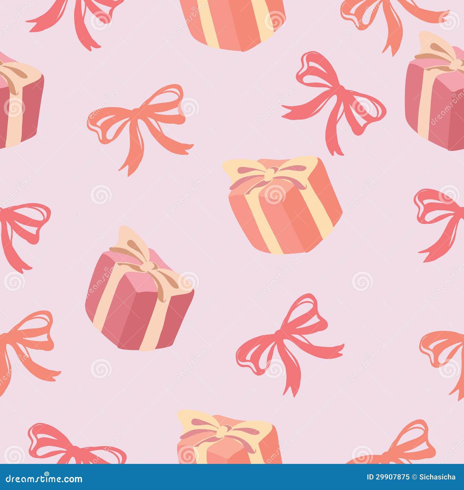 Seamless Pattern Of Gift Box And Ribbon Bow Pattern ...