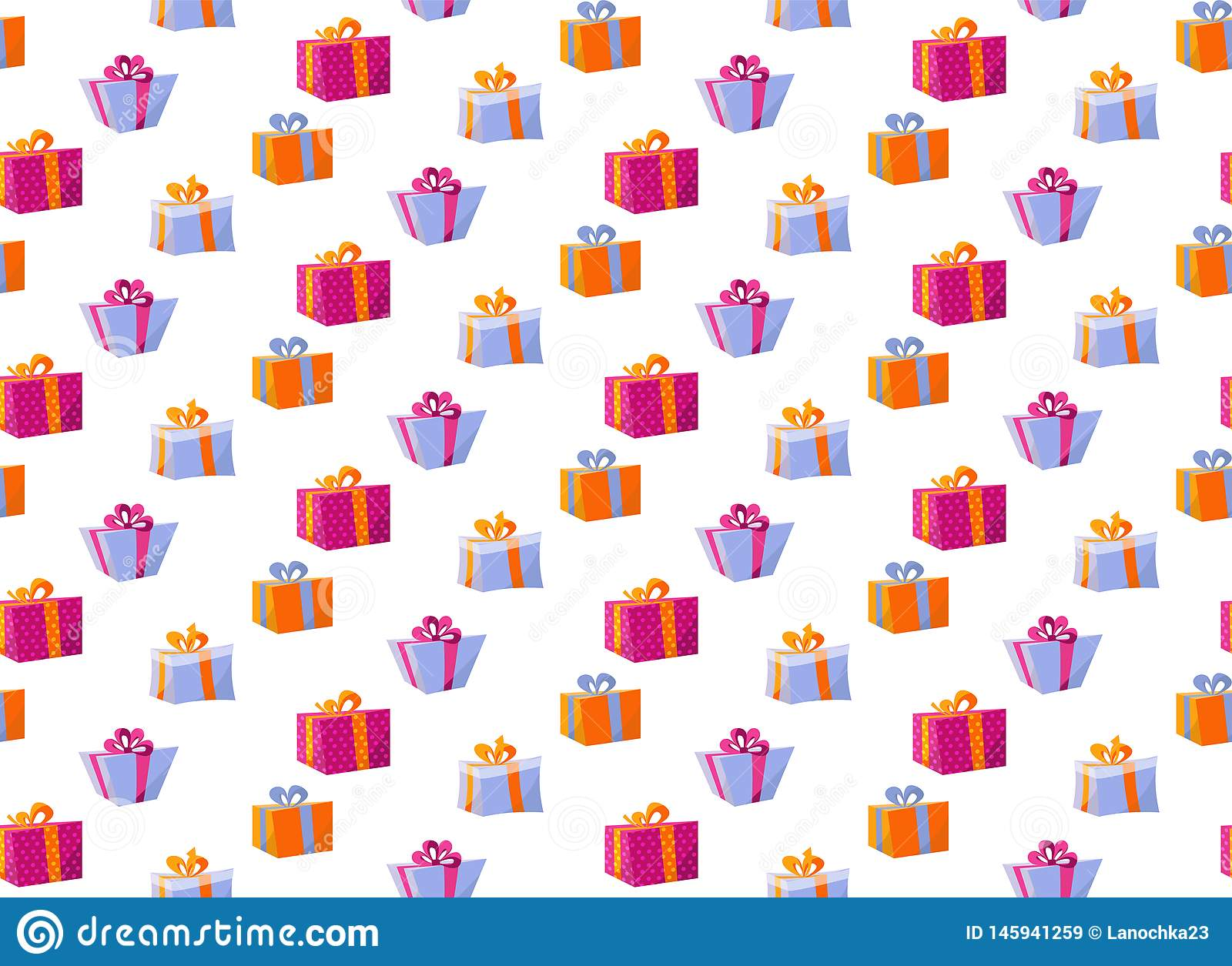 Seamless Pattern with Gift Boxes. Pattern gift box for fabric print, wrapping package gift box paper Big set of