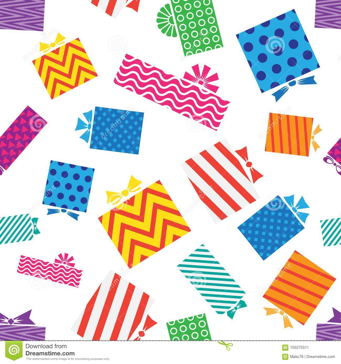 Seamless pattern, gift boxes on white background