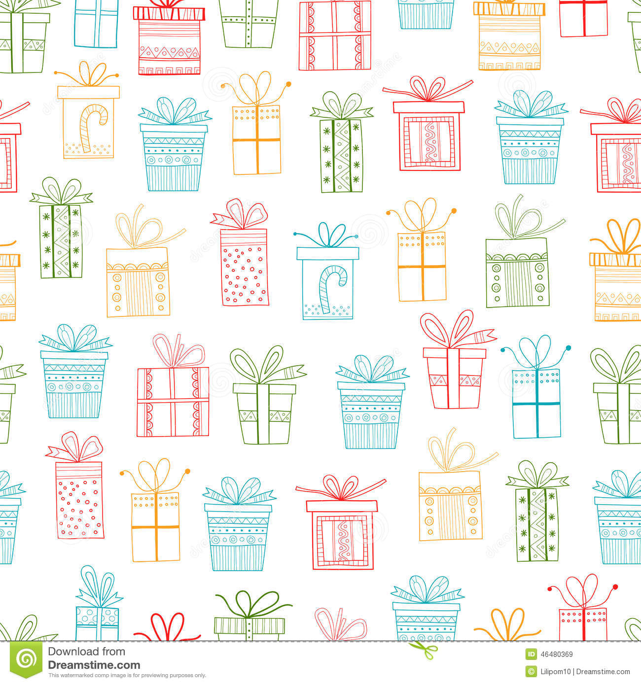 Seamless Pattern Of Gift Packages Christmas Gifts Stock Vector Image 46480369