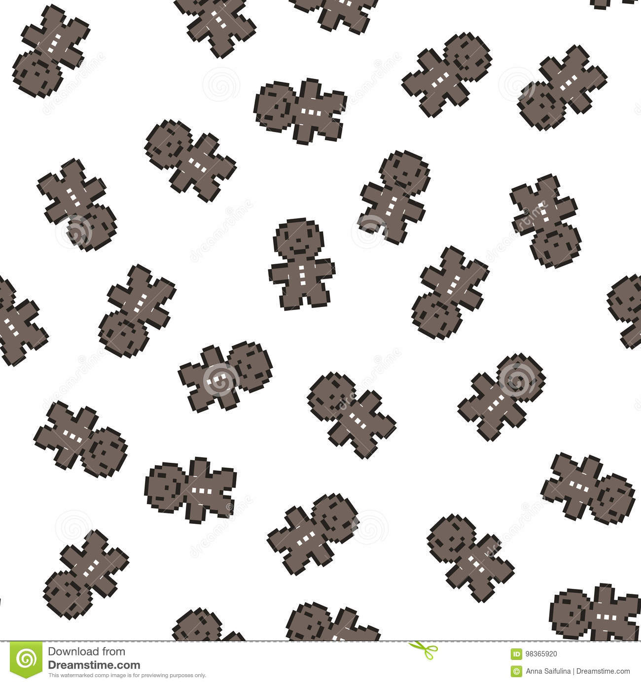 Seamless pattern with gingerbread men. Christmas, new year background, Vector illustration Pixel art