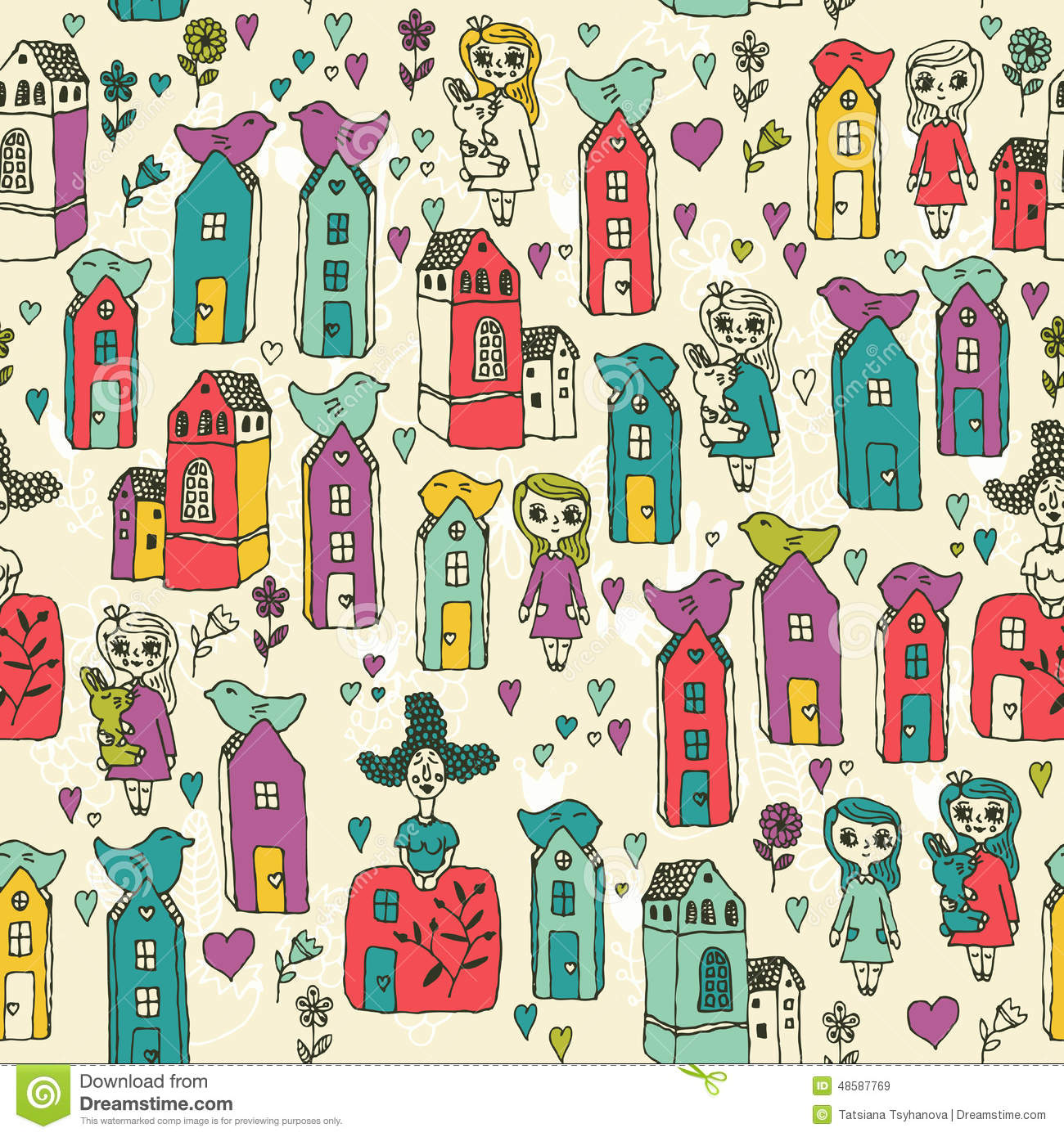 Seamless pattern with girls kids houses birds hearts for Kids pattern fabric