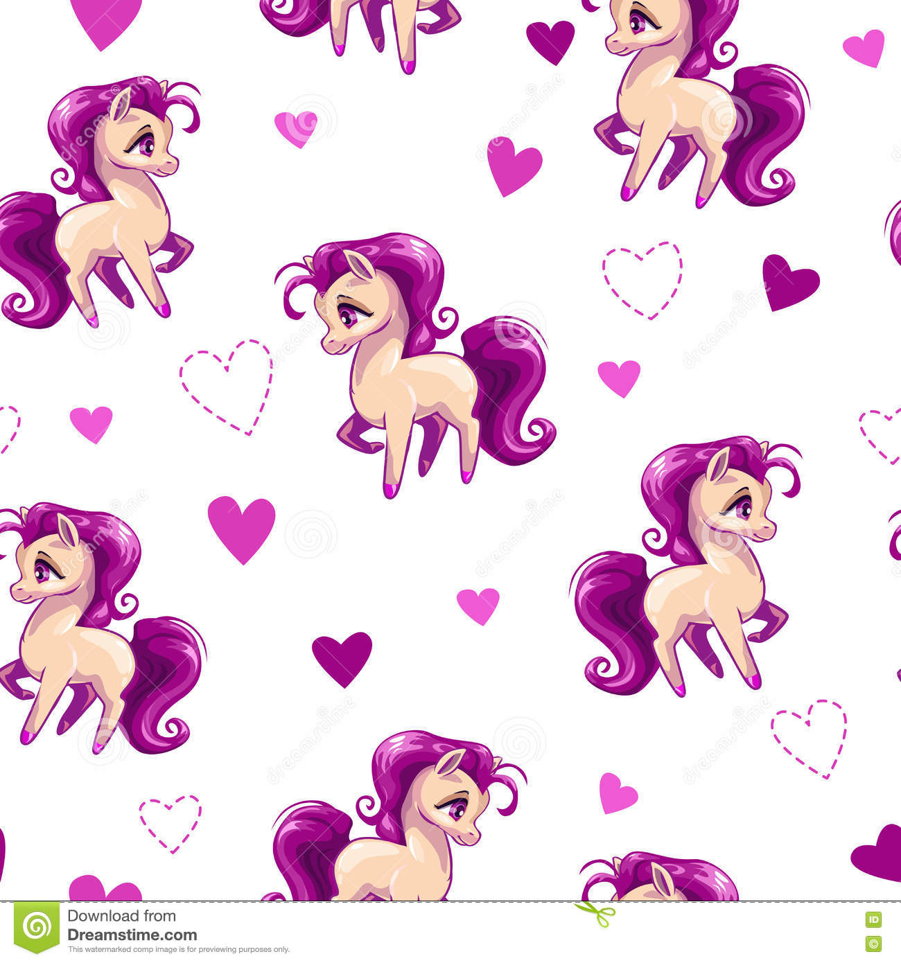 Seamless Pattern For Girls With Little Horse