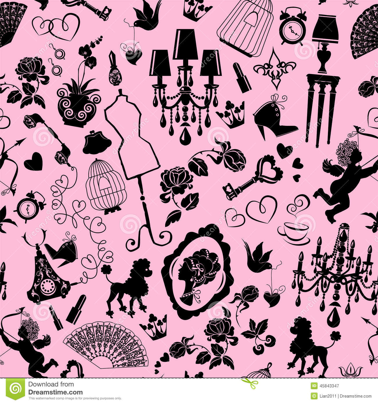 Pink and black fashion background