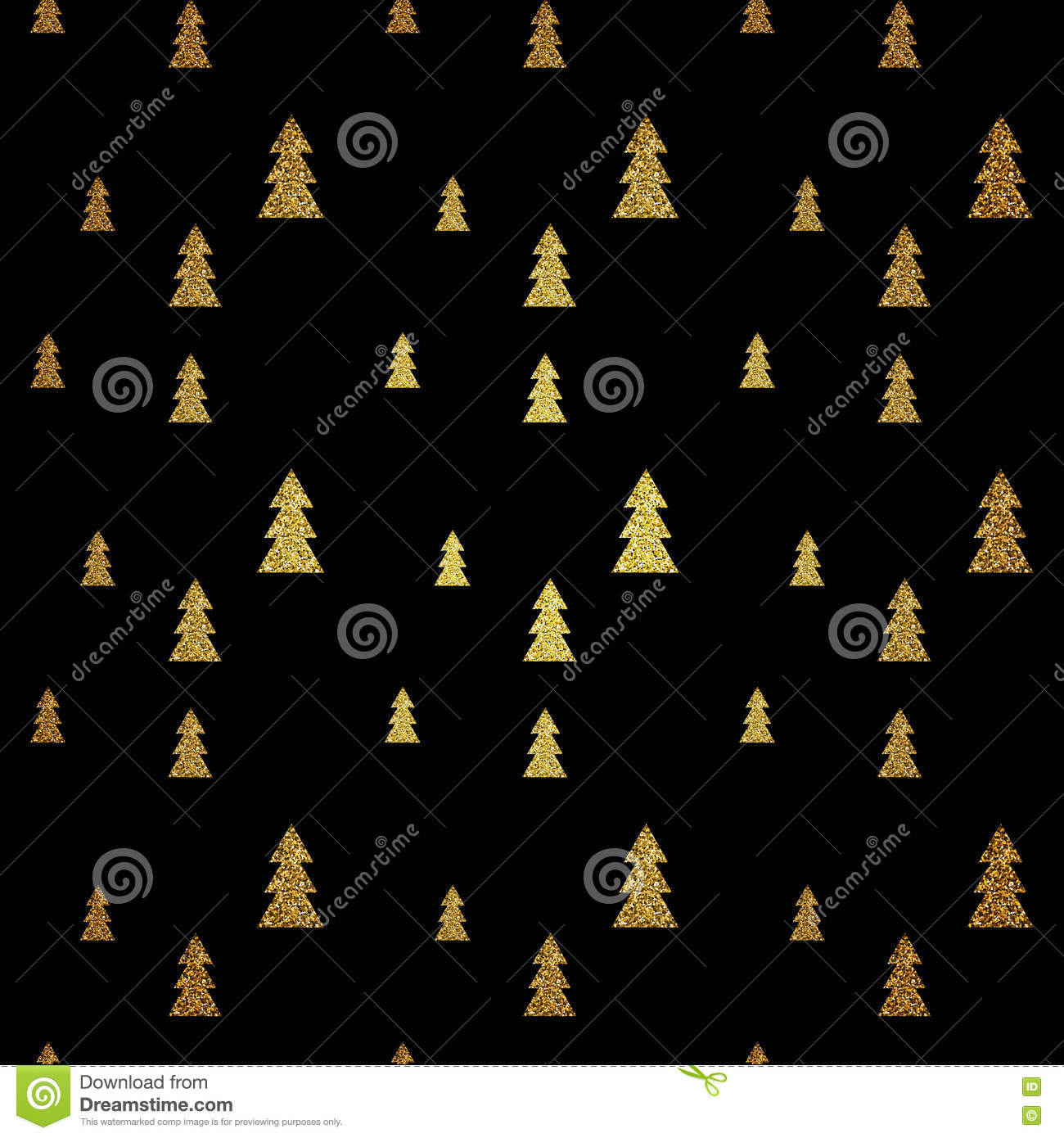 Seamless pattern of gold Christmas tree on black background. Vector