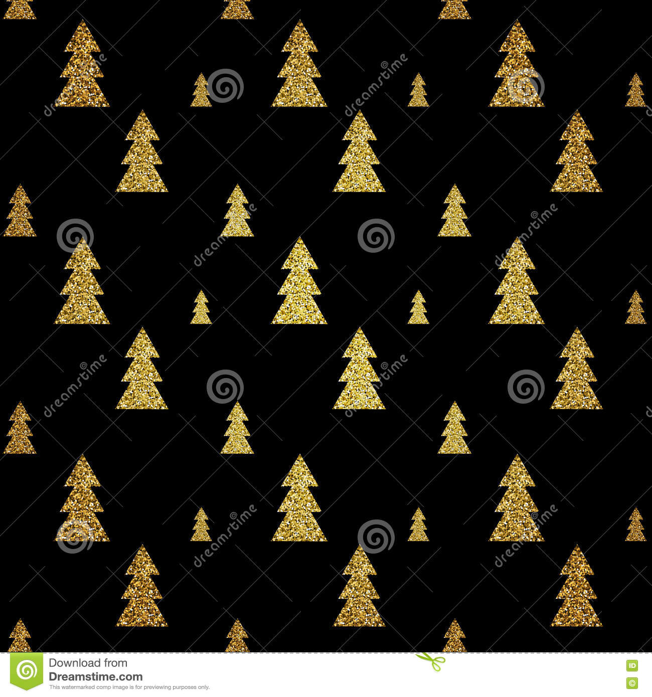 Seamless Pattern Of Gold Christmas Tree On Black