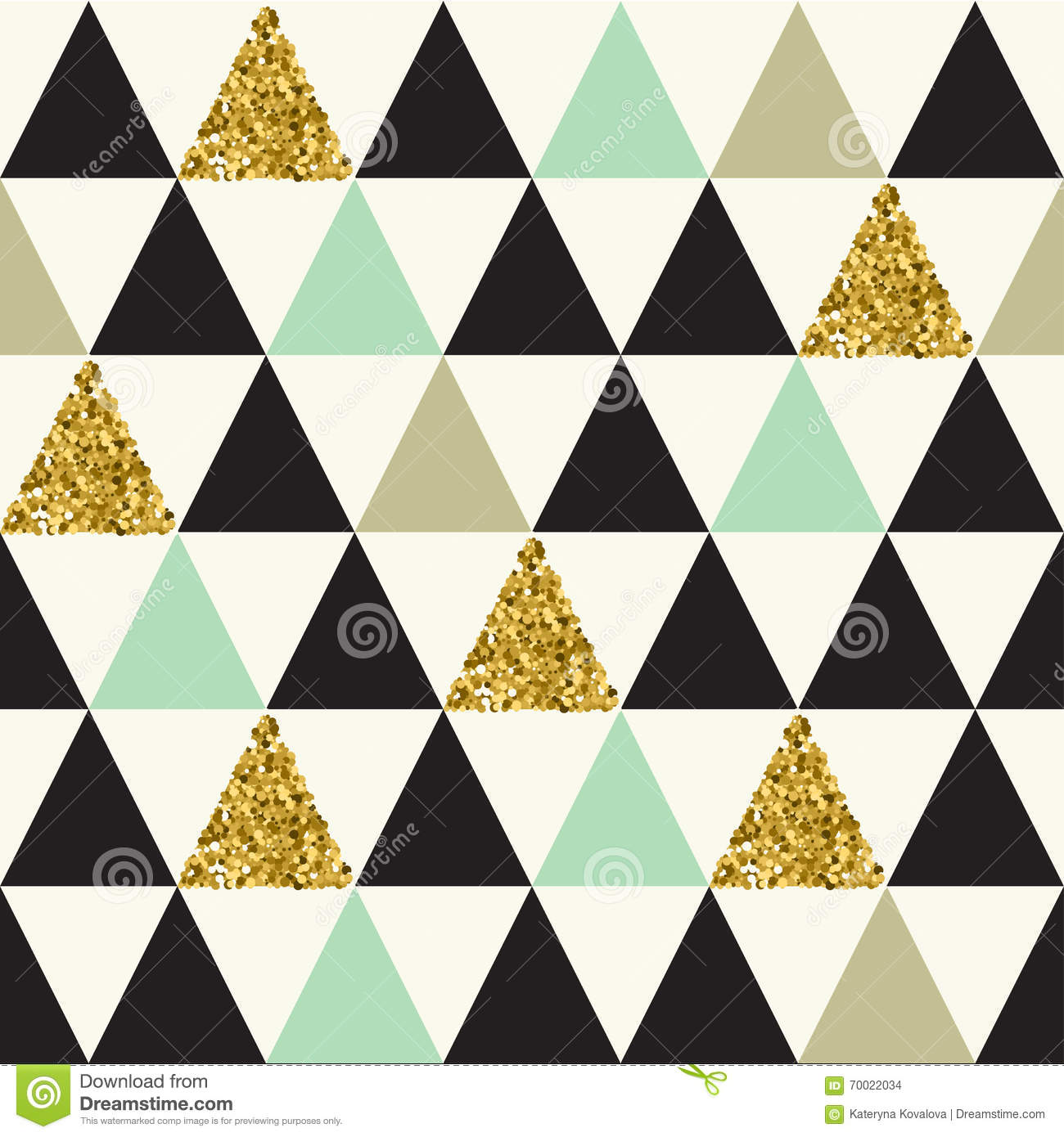 Seamless Pattern With Gold Glitter Triangles Stock Vector