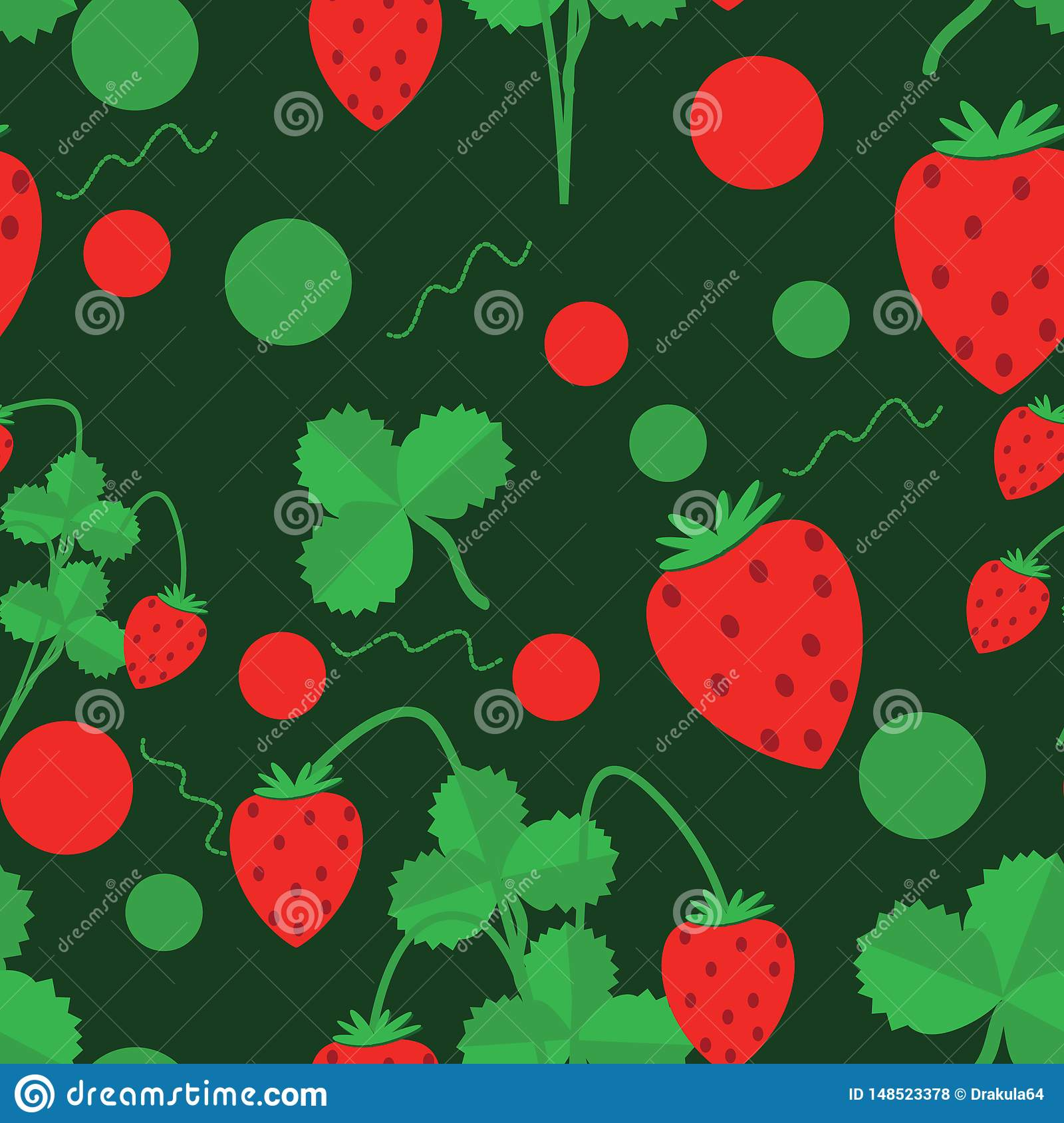 Seamless pattern of green leaves and strawberries