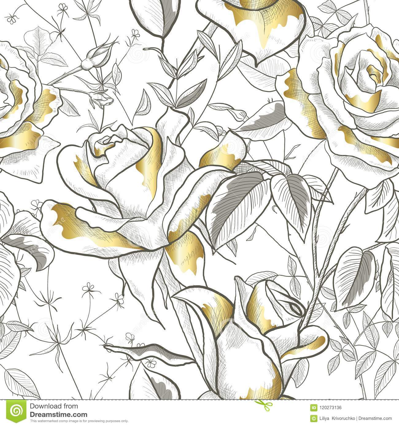 Seamless Pattern With Gold Rose Leaves And Buds On A White