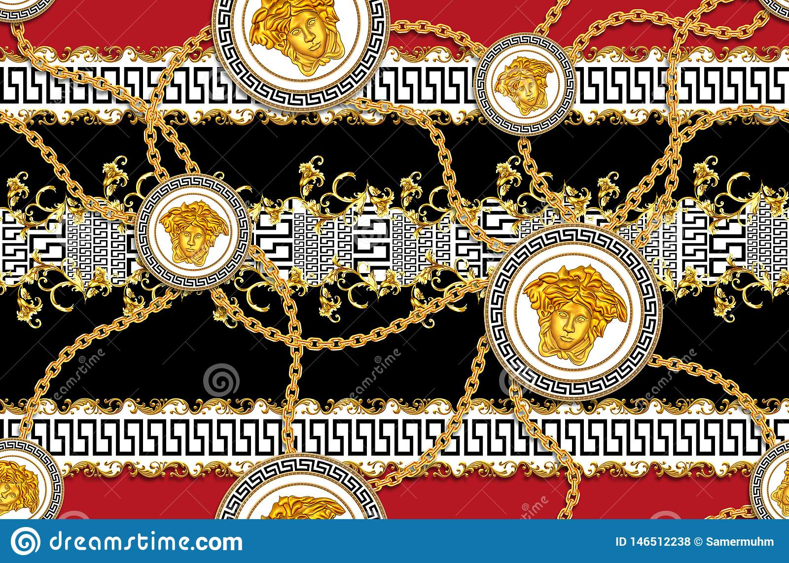 Seamless Pattern Of Golden Antique Decorative Barque With Versace