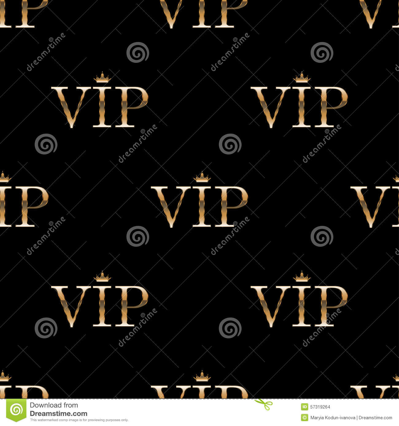 Seamless Pattern With Golden Text VIP Stock Vector Image