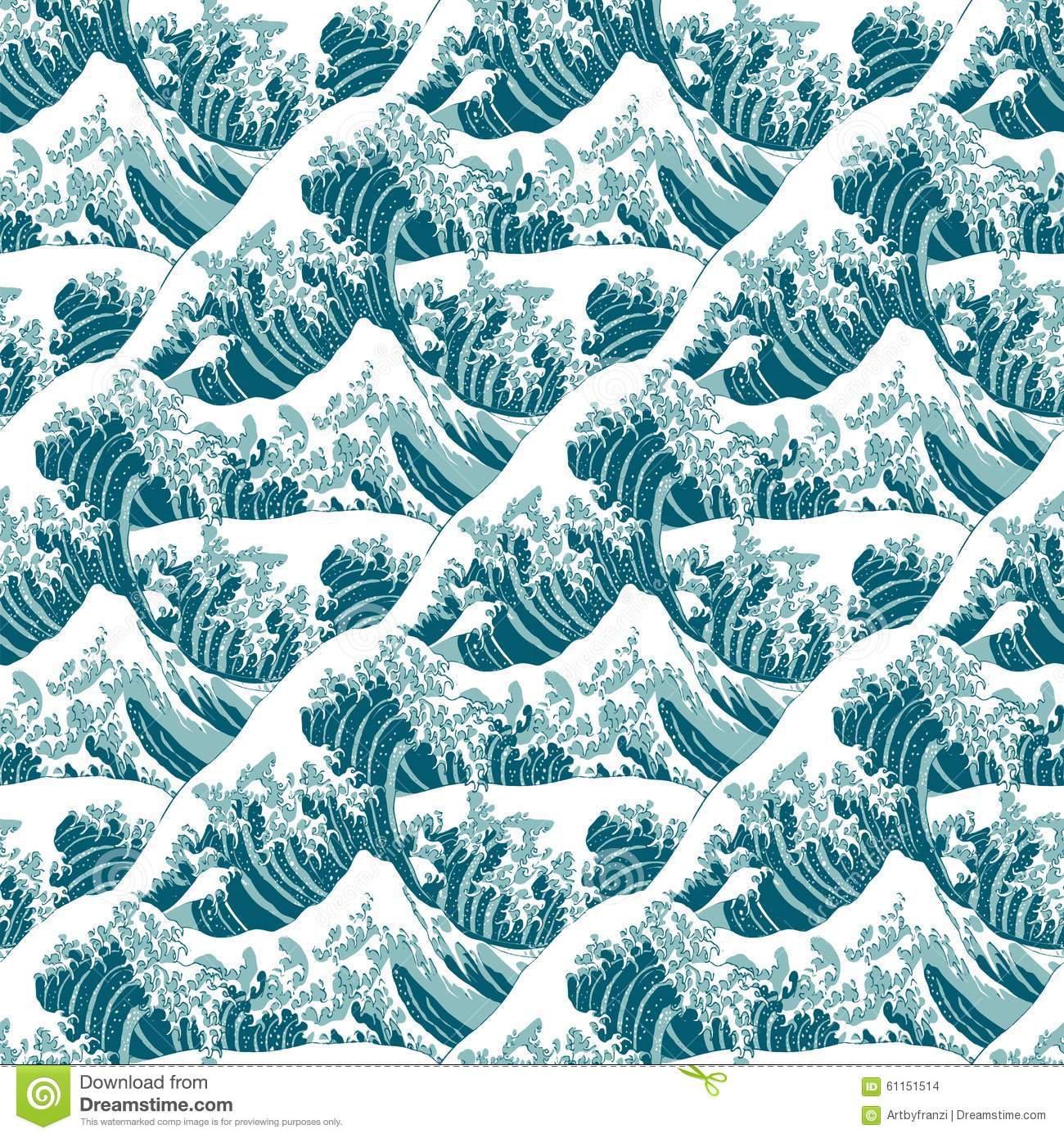 Pattern of the great wave off kanagawa stock vector image 61151514