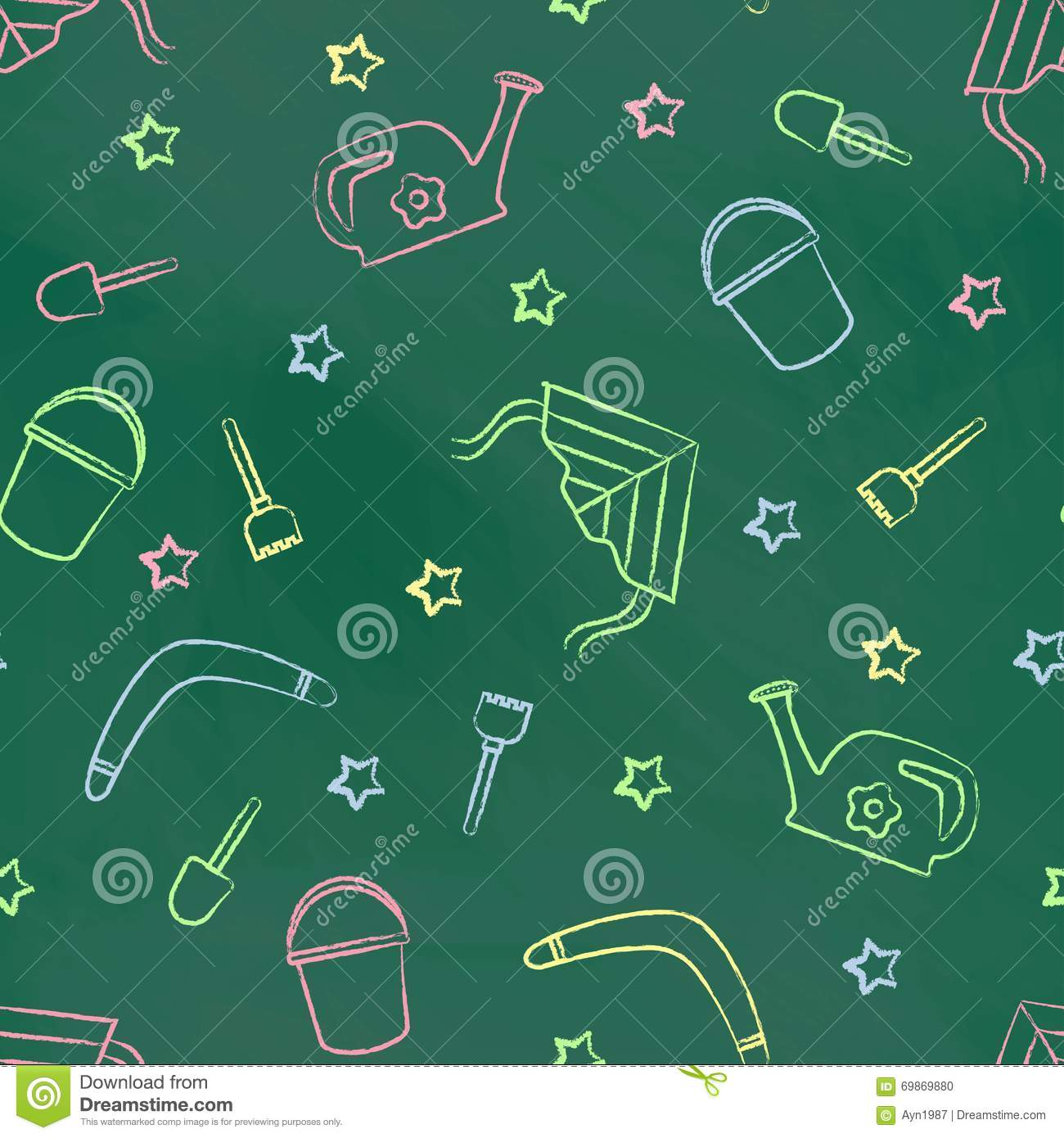 Seamless Pattern Green Chalk Board With Color Children S