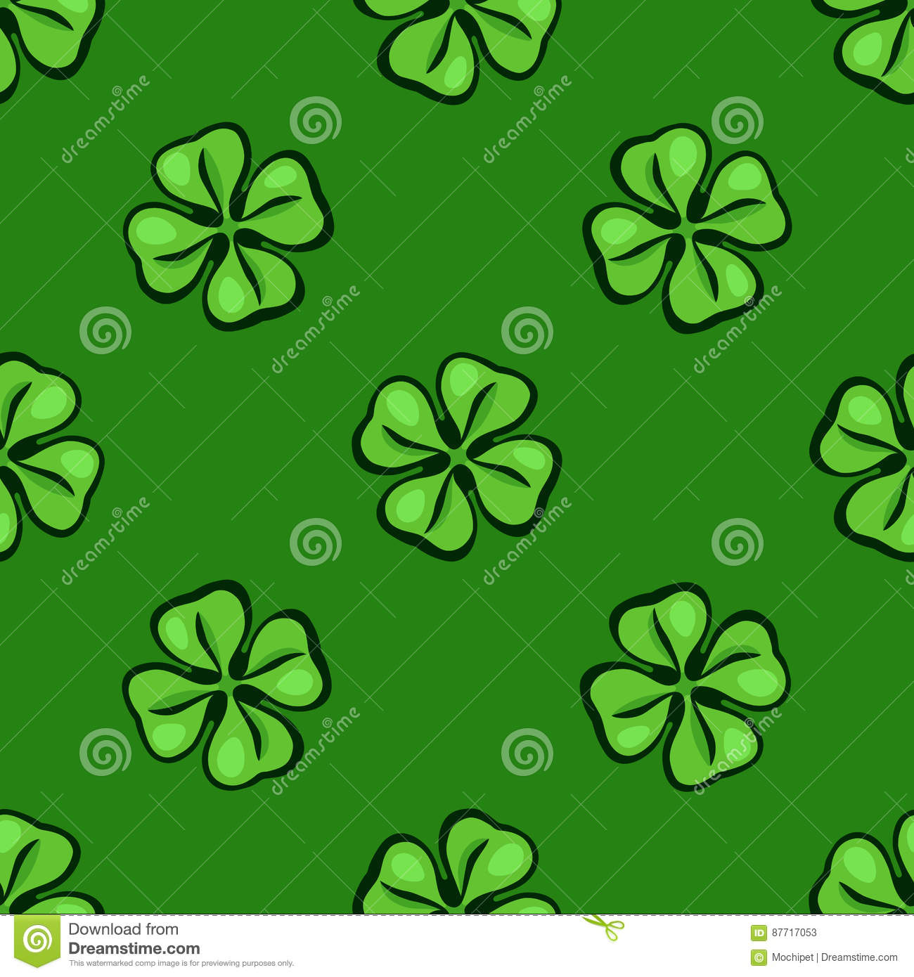Seamless Pattern With Green Clover Leafs Up And Down Stock Vector