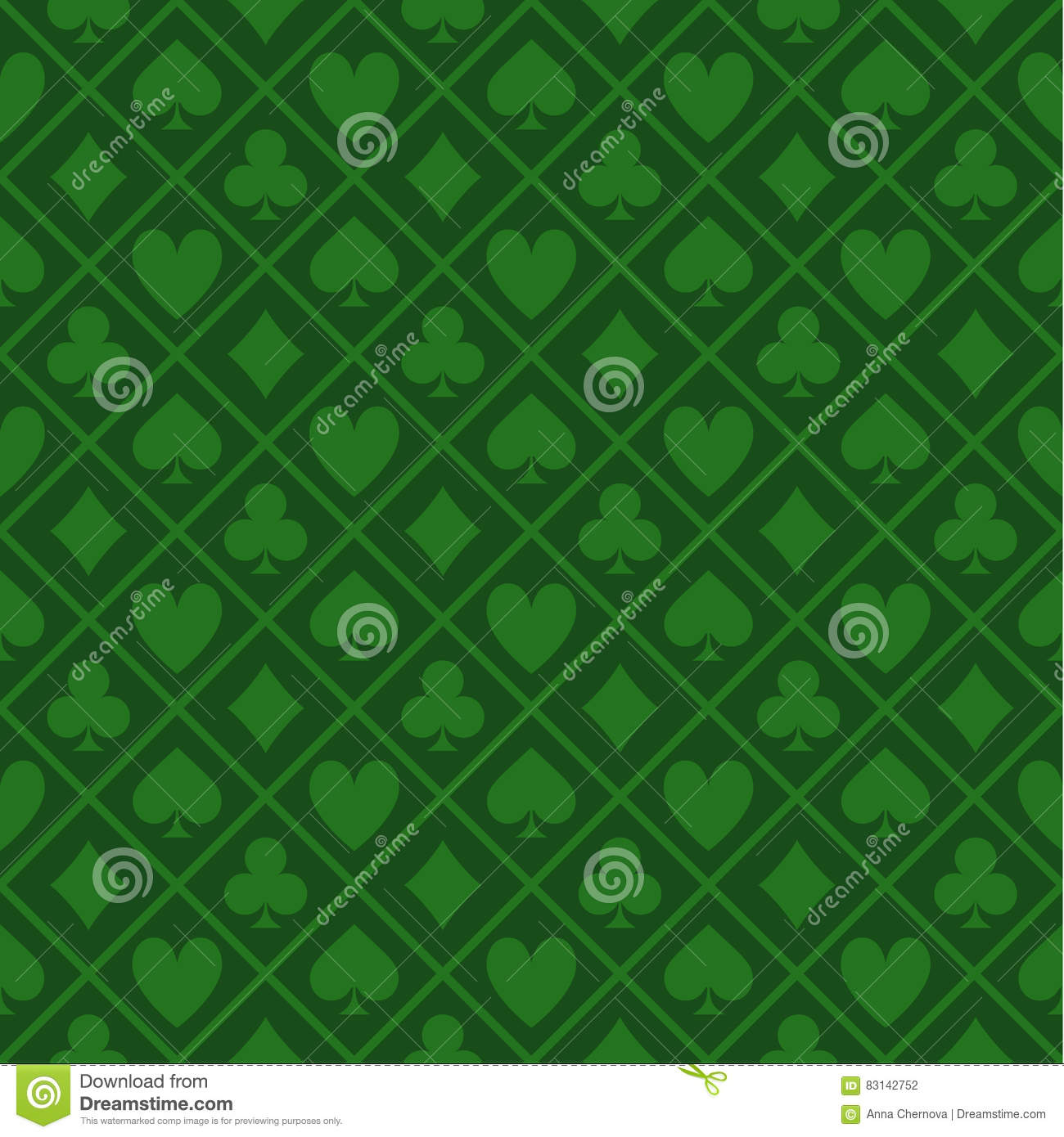Seamless Pattern Of Green Fabric Poker Table
