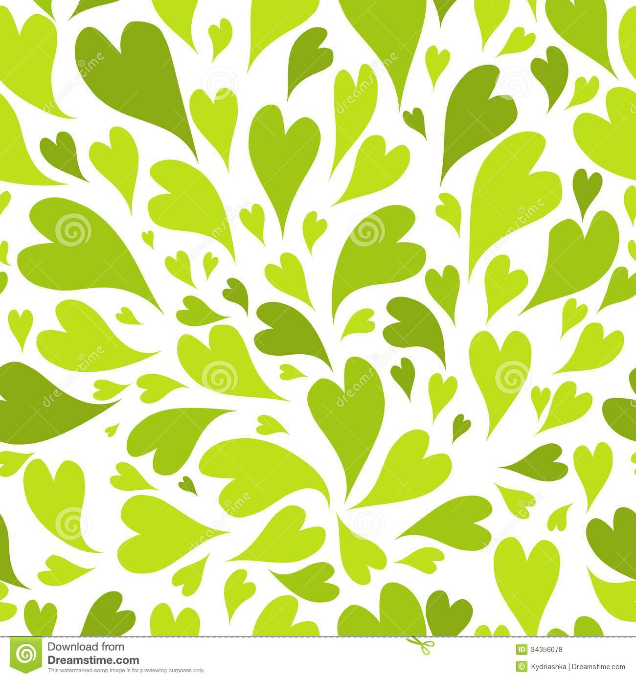 Seamless Pattern With Green Hearts For Your Design Royalty