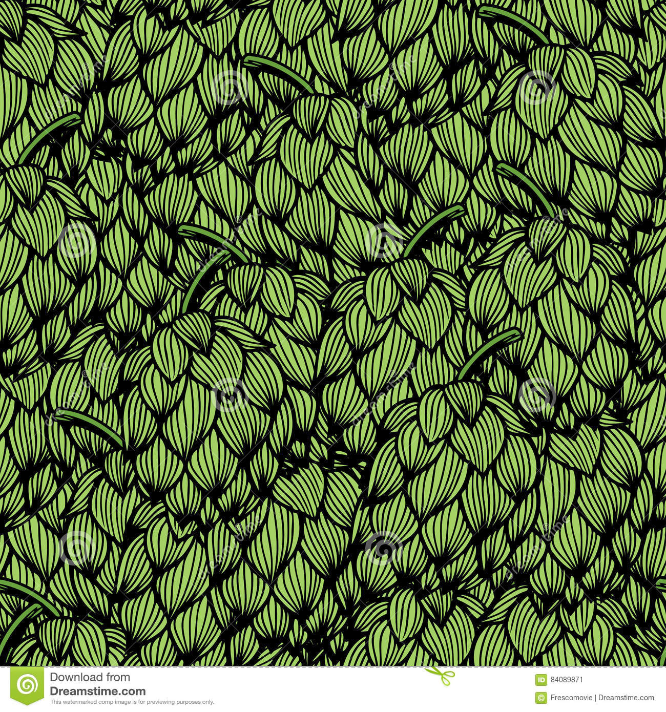 Seamless Pattern With Green Hops Stock Vector Illustration Of