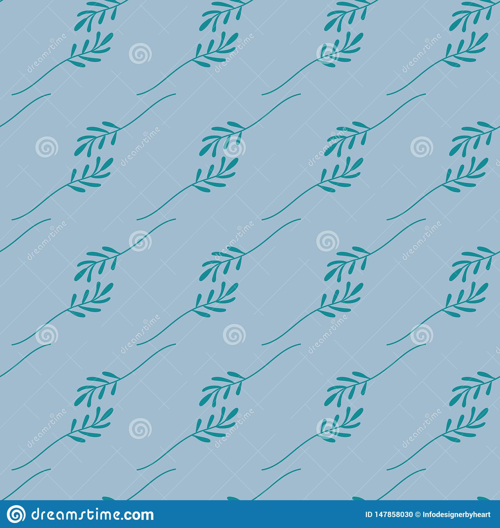 Seamless pattern of green leaves on a blue background. Vector file.