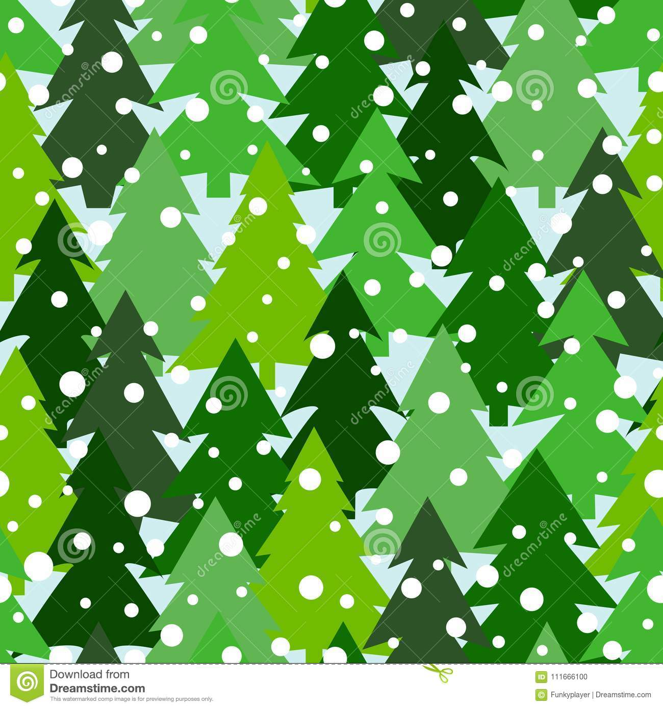 Seamless pattern with green silhouettes of fir-trees and pines. Winter forest background. Scrapbook digital paper