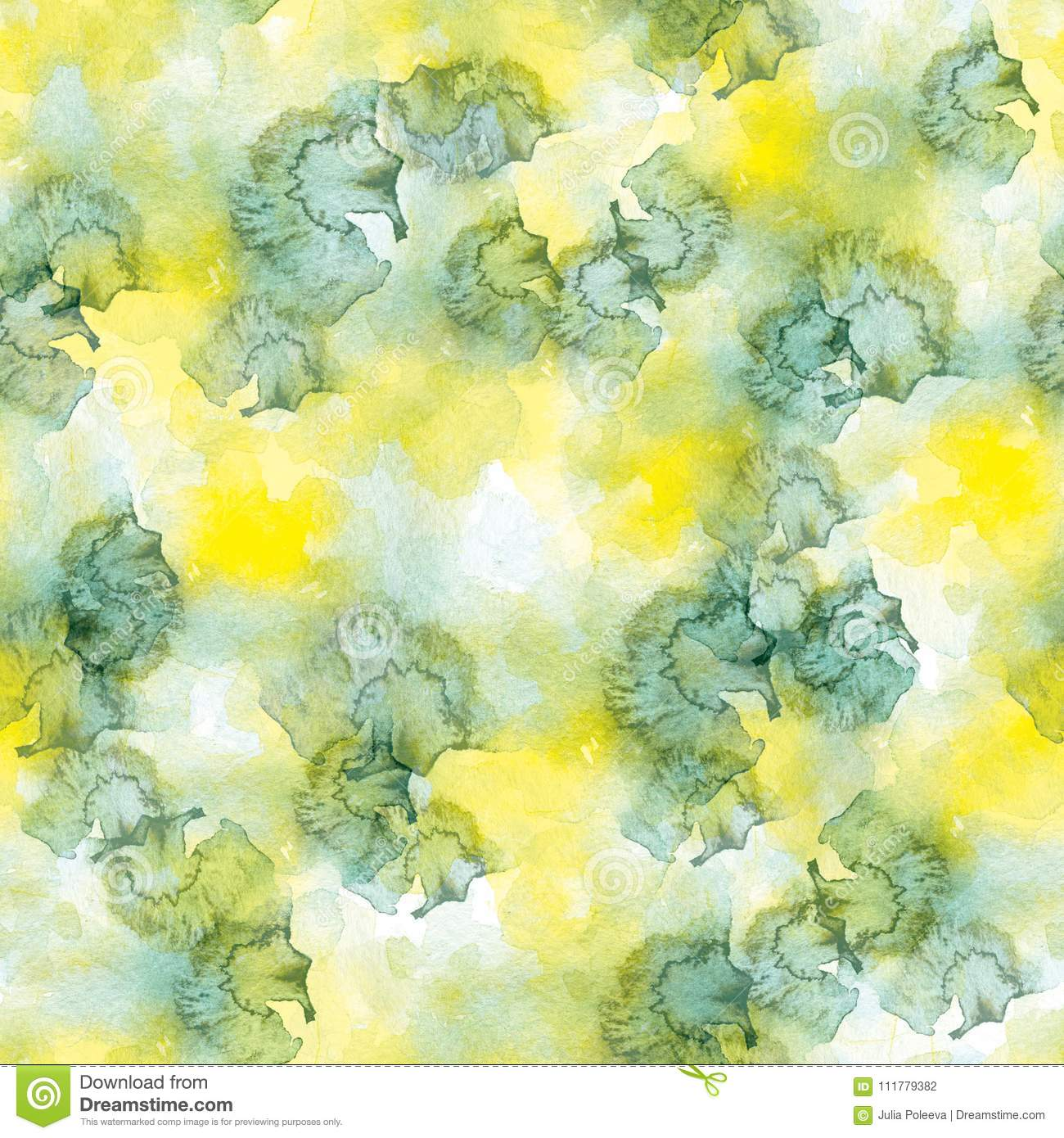 Seamless pattern of green and yellow watercolor stains on white background