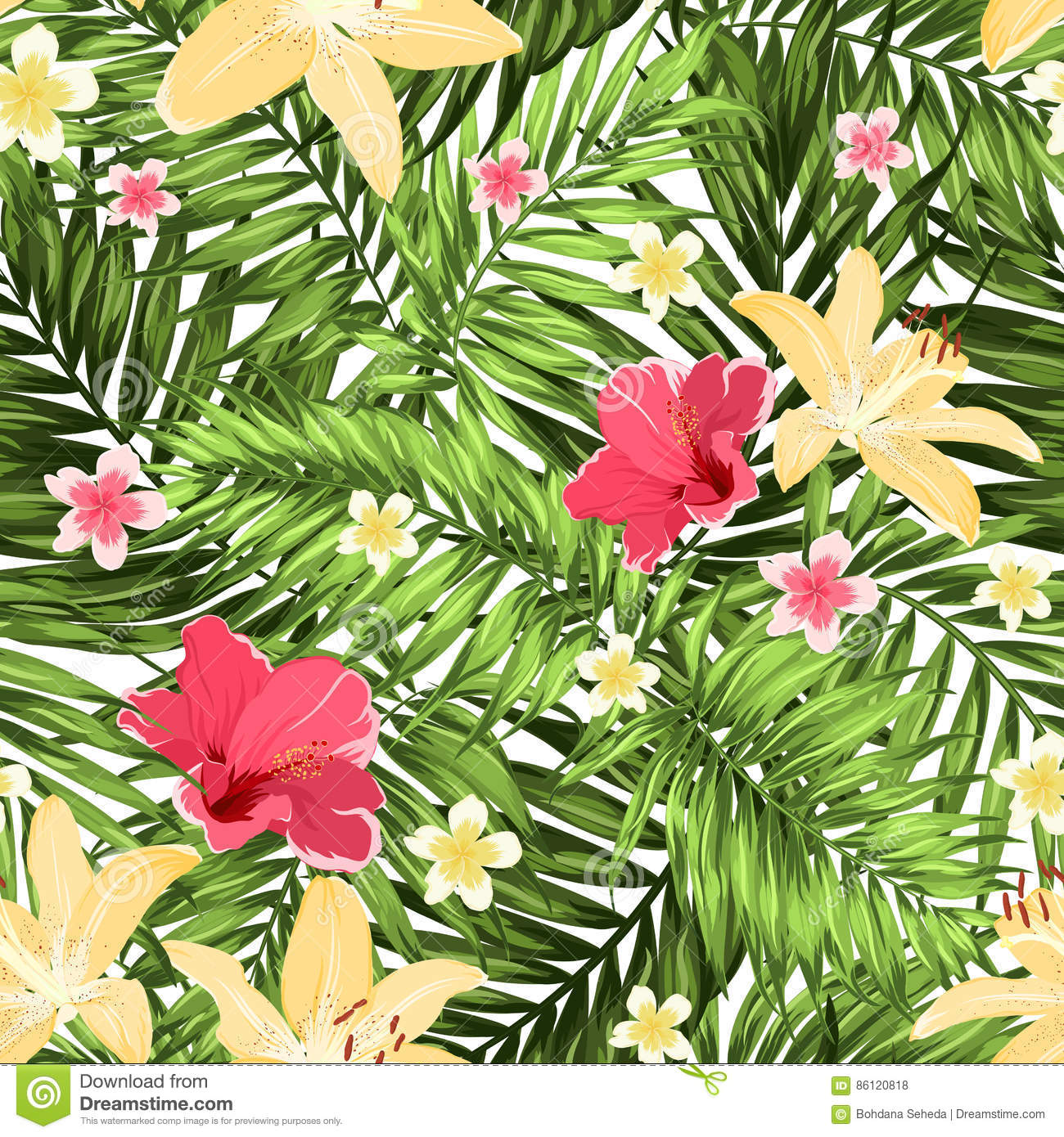 seamless pattern greenery tropical leaves flowers stock vector