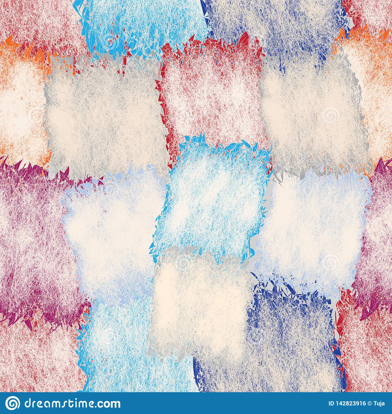 Seamless pattern with grunge stained and striped square elements in pastel colors