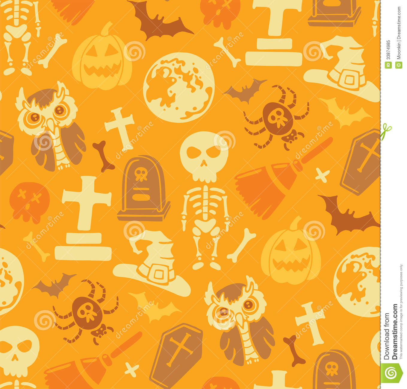 download seamless pattern with halloween objects stock vector illustration of decor background