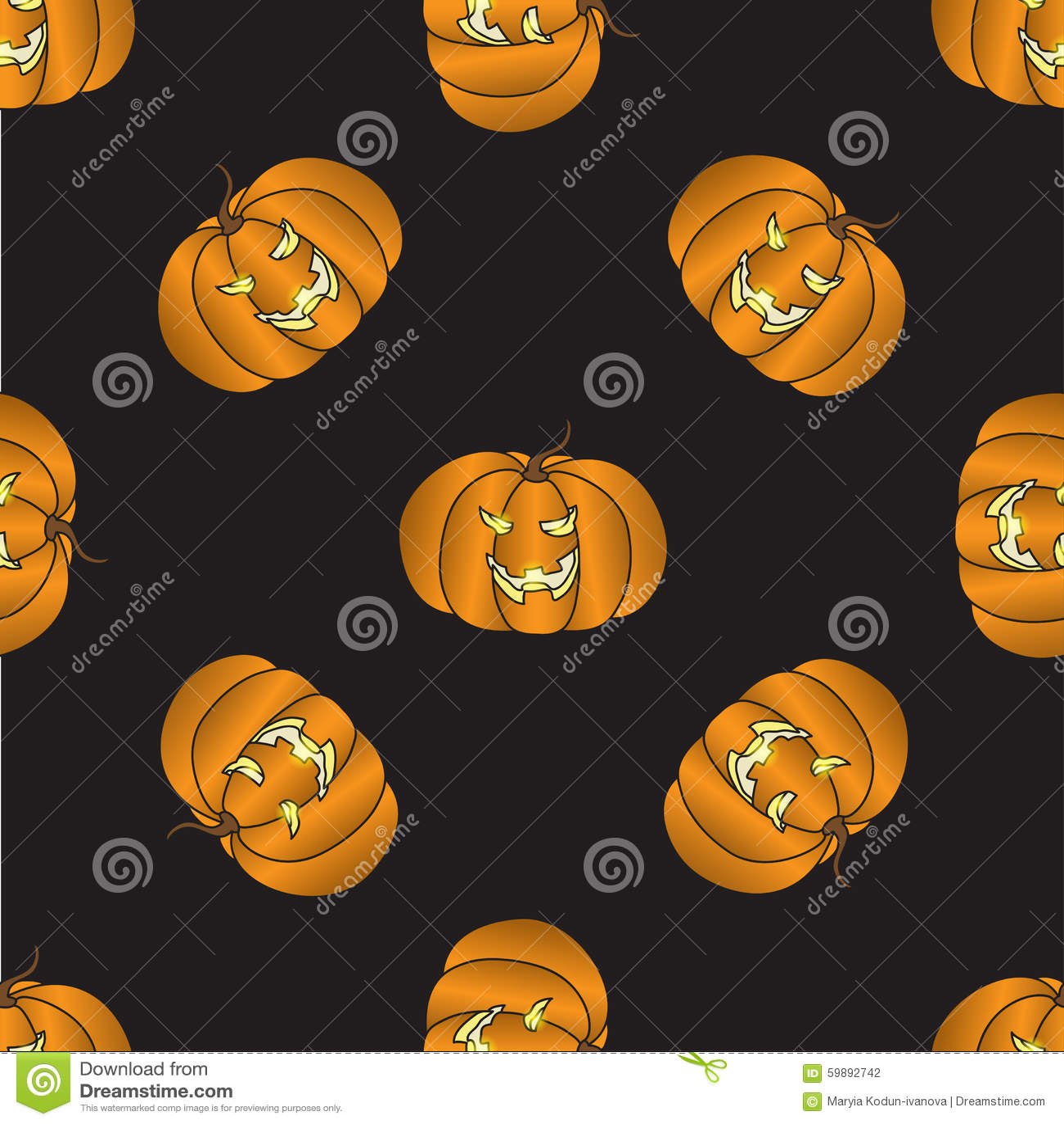 Seamless pattern with halloween pumpkin stock vector for Cartoon pumpkin patterns