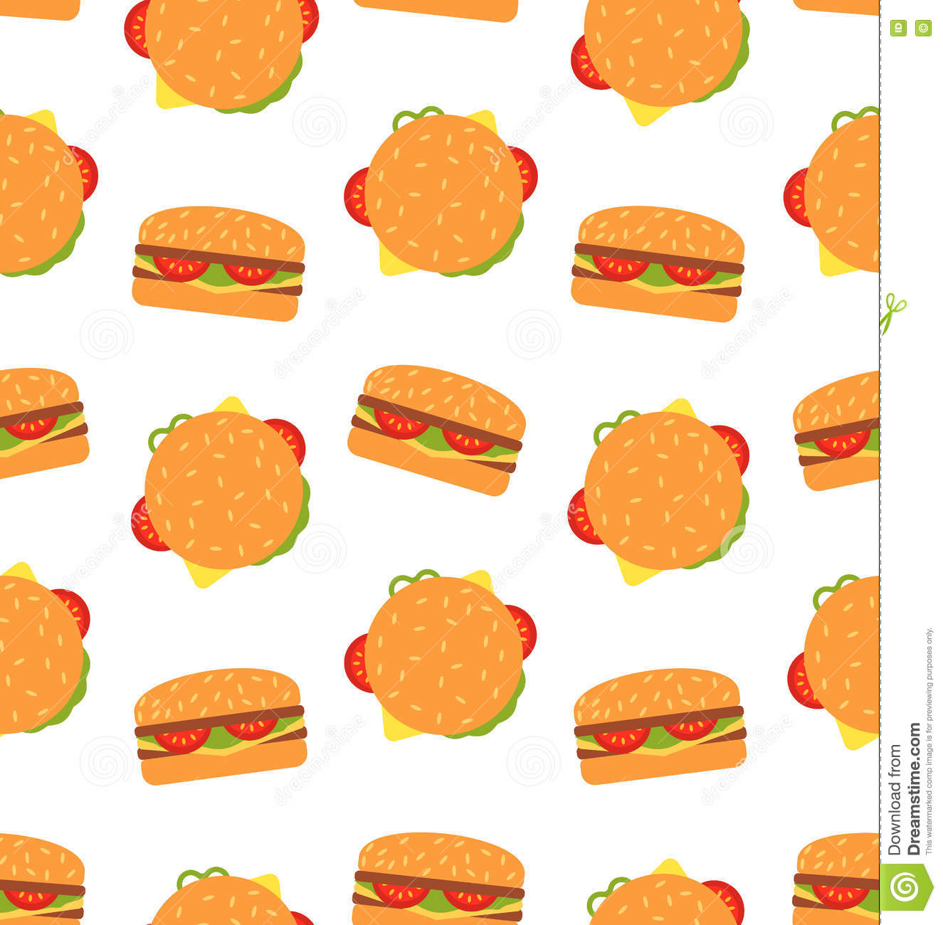 seamless pattern with hamburgers fast food wallpaper