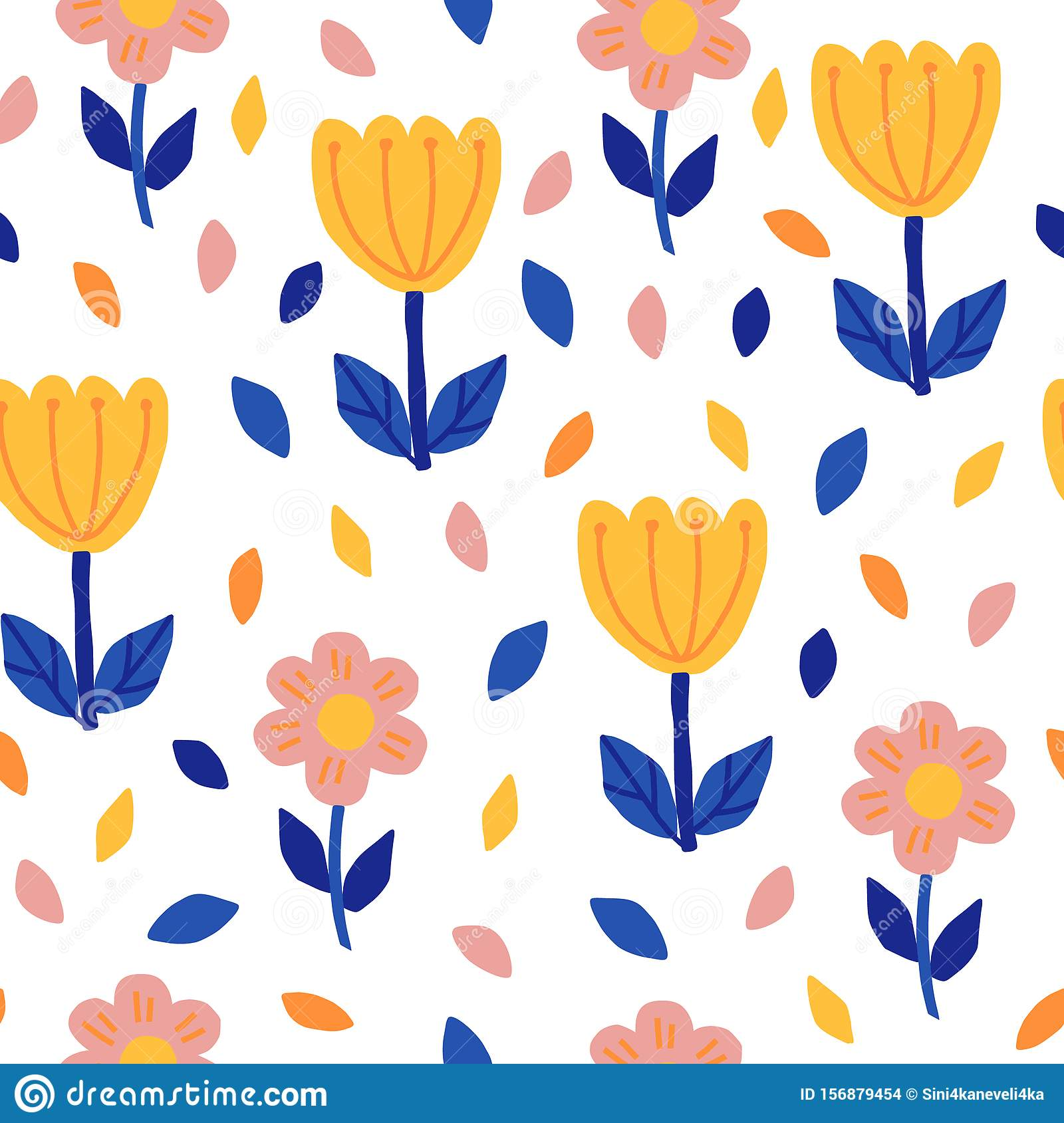 Seamless Pattern With Hand Draw Flowers In Scandinavian Style Simple Floral Print In Blue Pink And Yellow Vector Stock Vector Illustration Of Greeting Endless 156879454