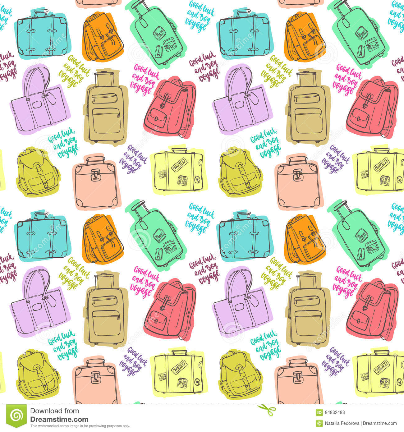 Seamless Pattern With Hand Drawing Luggage. Stock Vector ... 6431002681d77