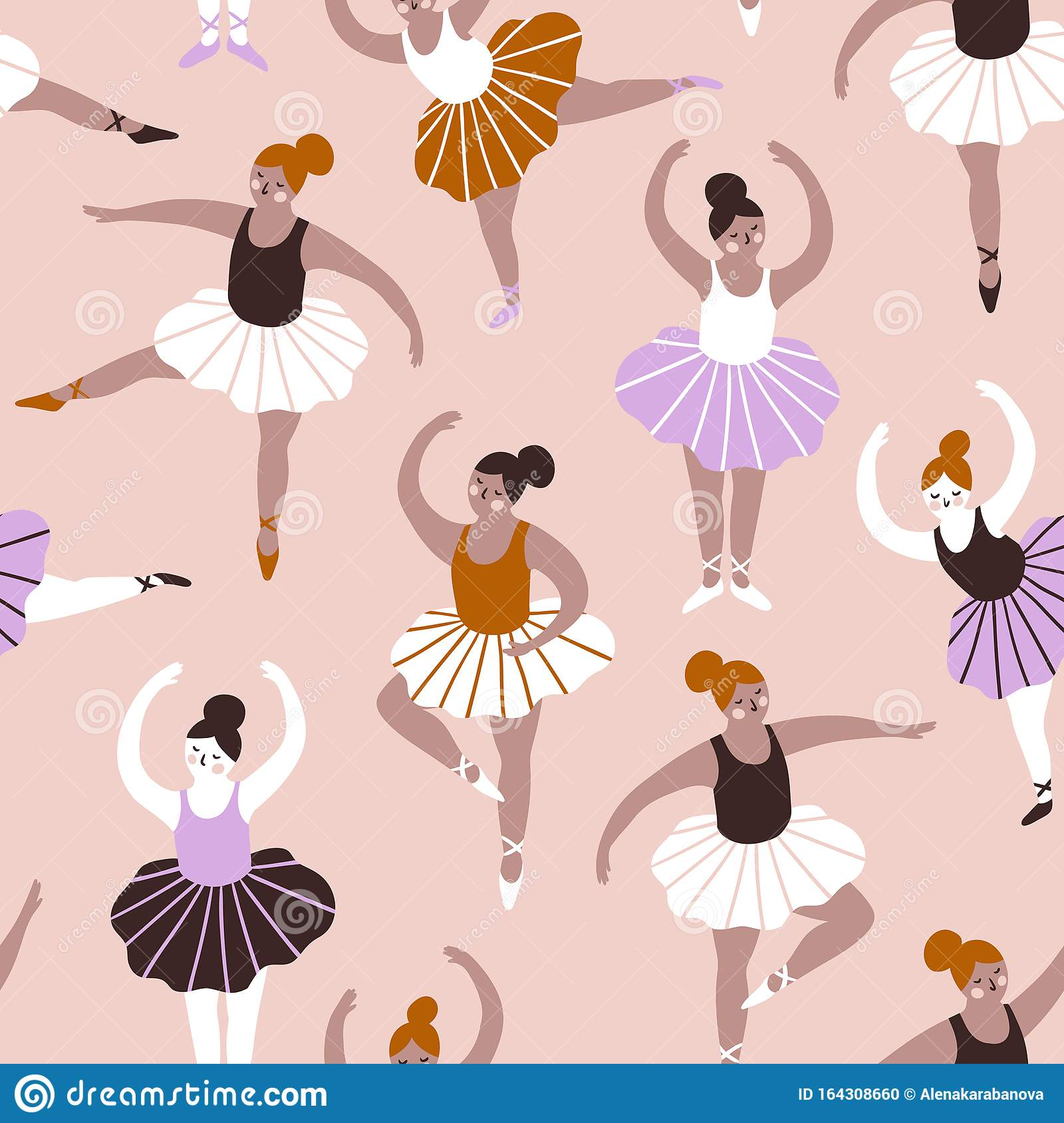 Seamless Pattern With Hand Drawn Ballerinas Cute Dancing Girls On Blue Background Vector Fashion Repeated Background Stock Vector Illustration Of Fabric Girls 164308660