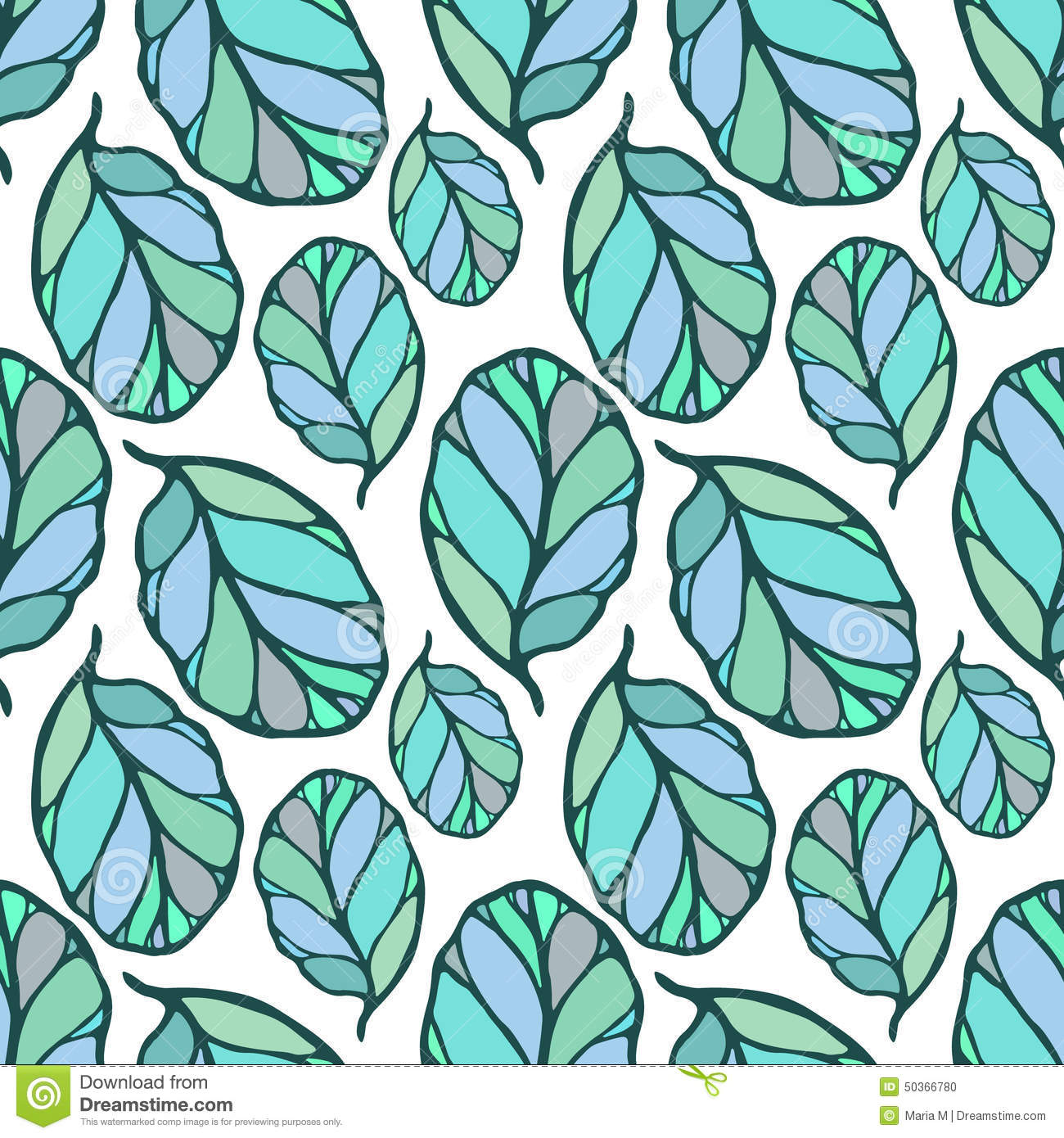 Seamless Pattern With Hand Drawn Blue And Green Leaves On The White Background Fabric